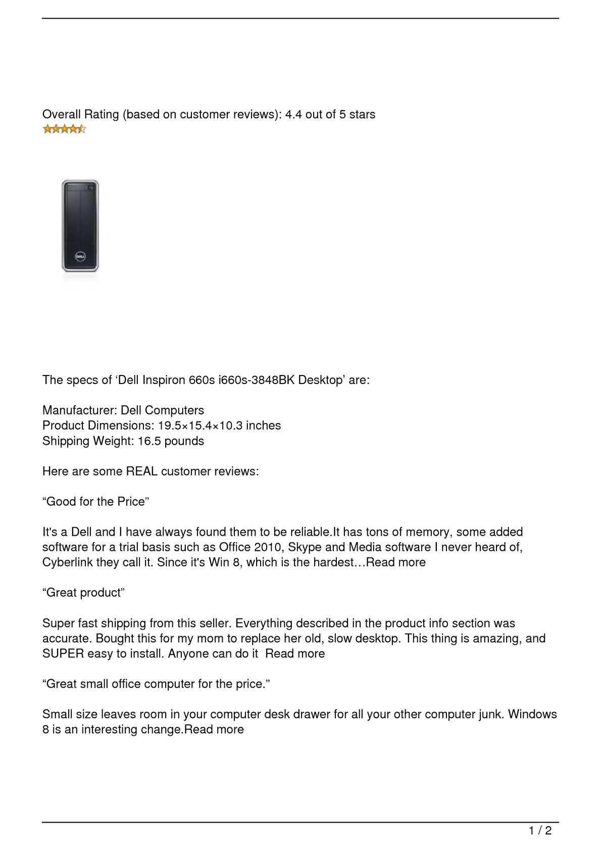 Calaméo - Dell Inspiron 660s i660s-3848BK Desktop Review