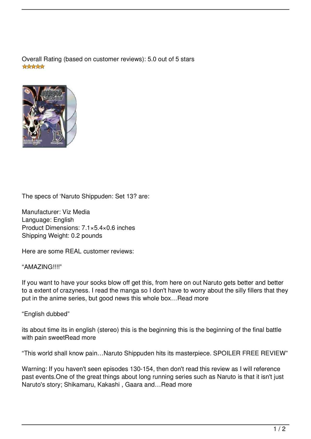 Calaméo - Naruto Shippuden: Set 13 Review