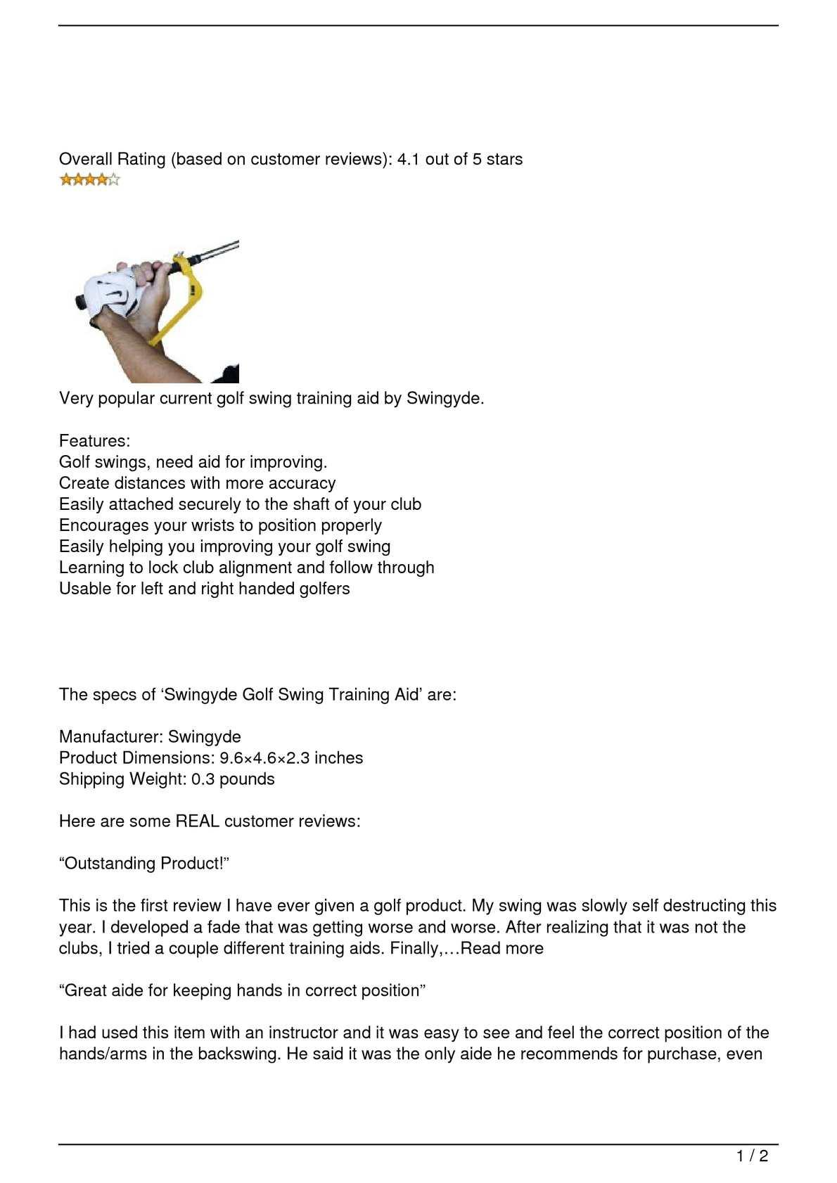 Calameo Swingyde Golf Swing Training Aid