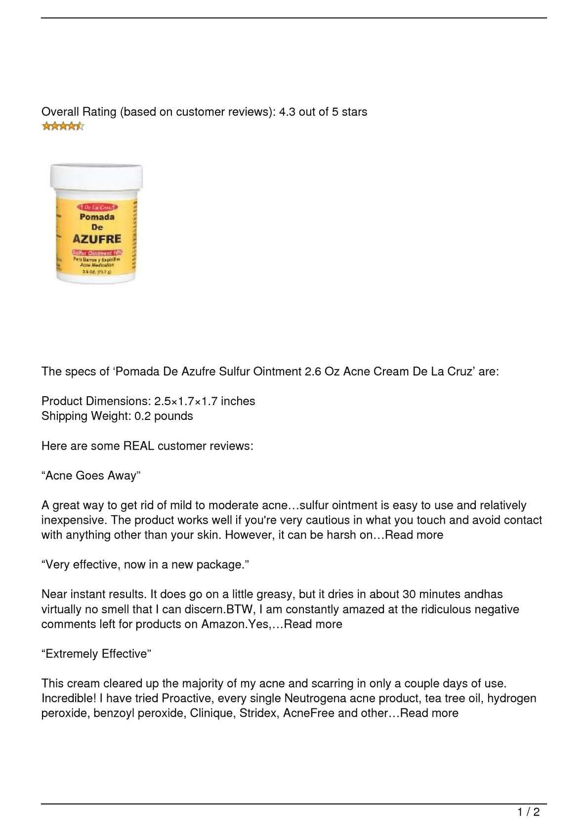 Calaméo - Pomada De Azufre Sulfur Ointment 2 6 Oz Acne Cream