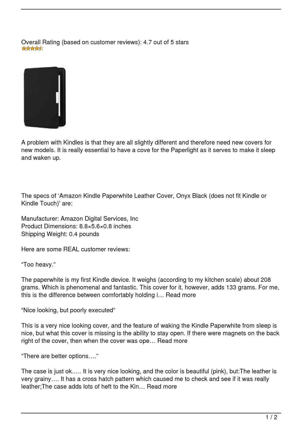 Calaméo - Amazon Kindle Paperwhite Leather Cover, Onyx Black