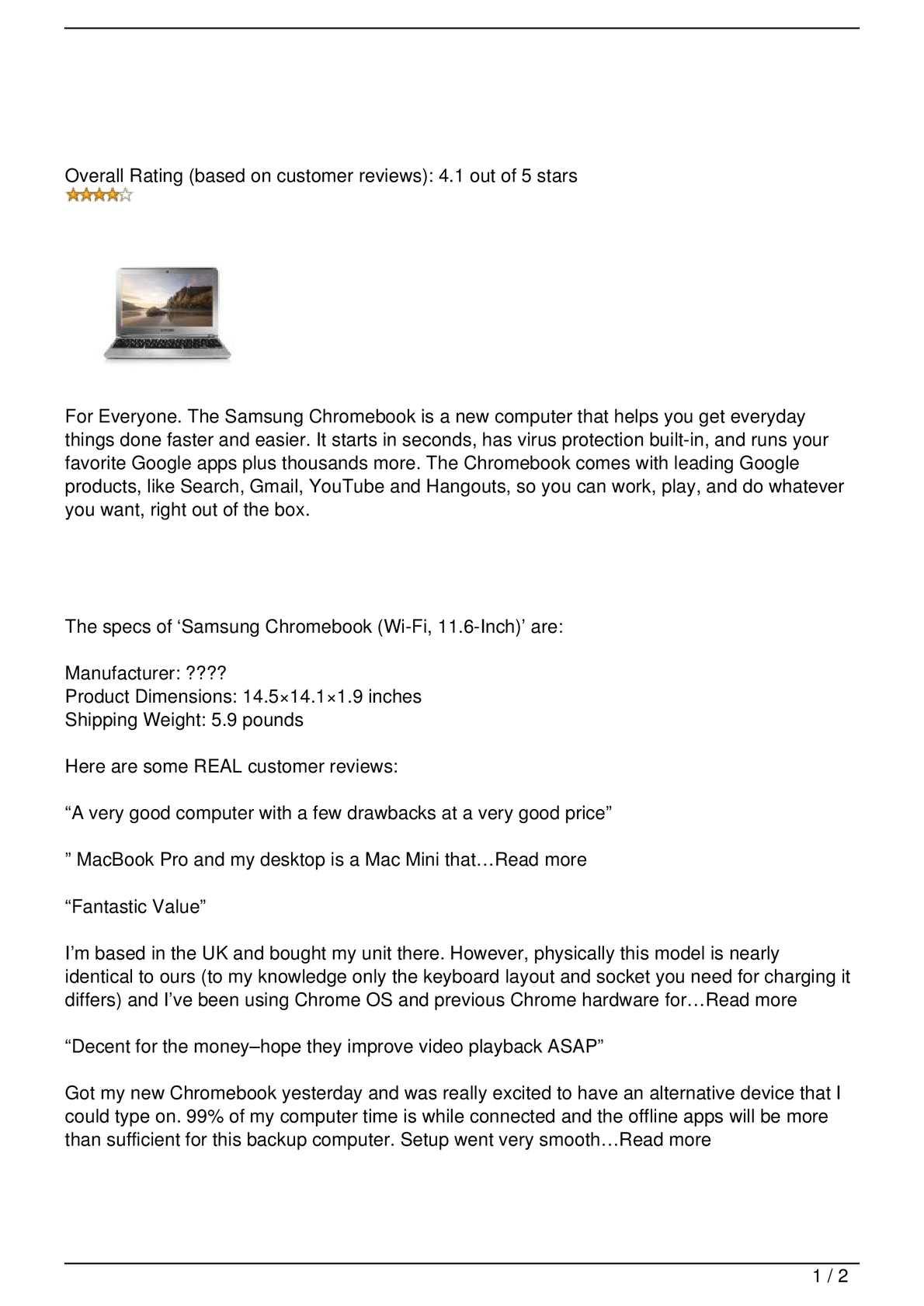 Calaméo - Samsung Chromebook (Wi-Fi, 11 6-Inch)