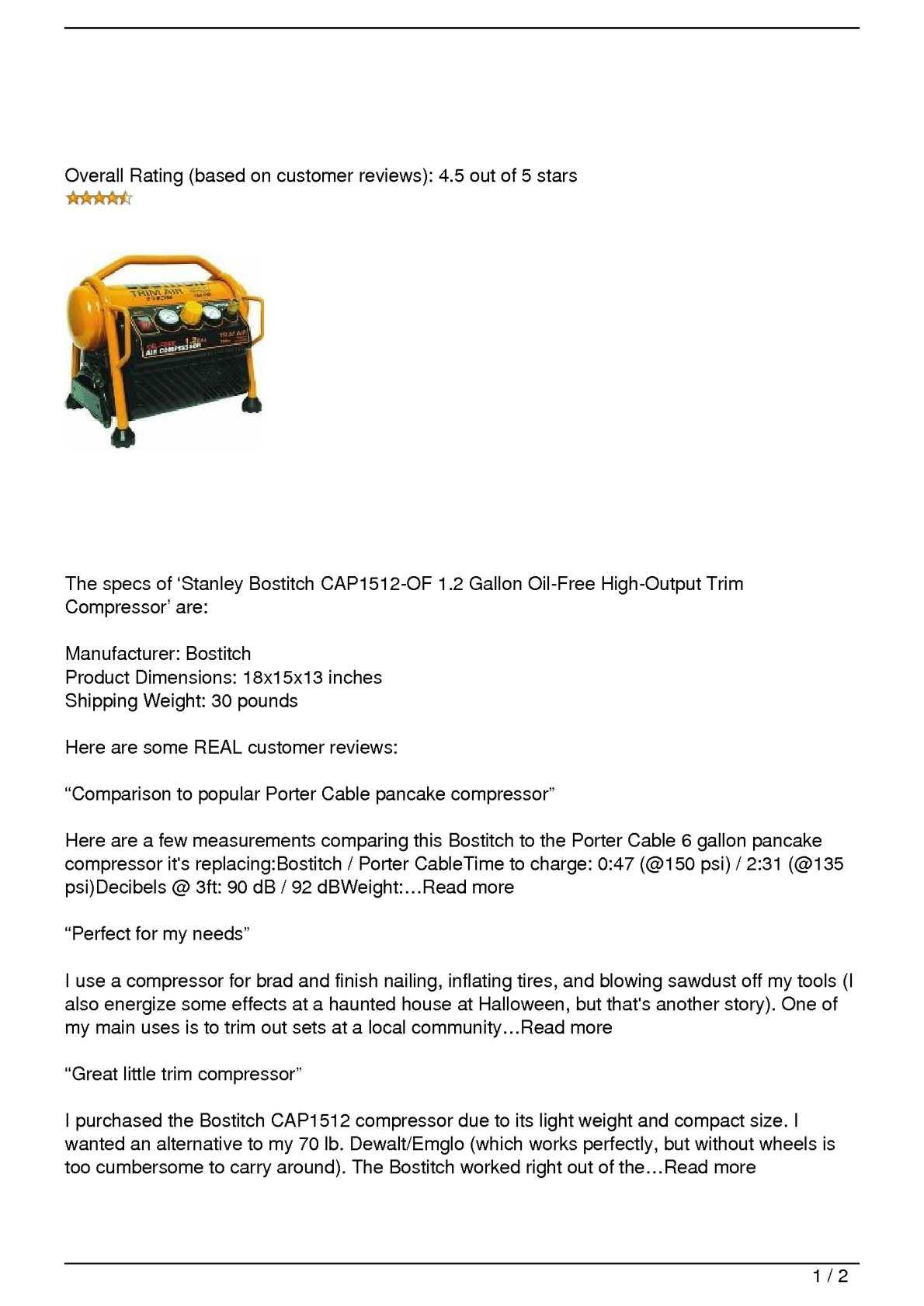Calaméo - Stanley Bostitch CAP1512-OF 1 2 Gallon Oil-Free