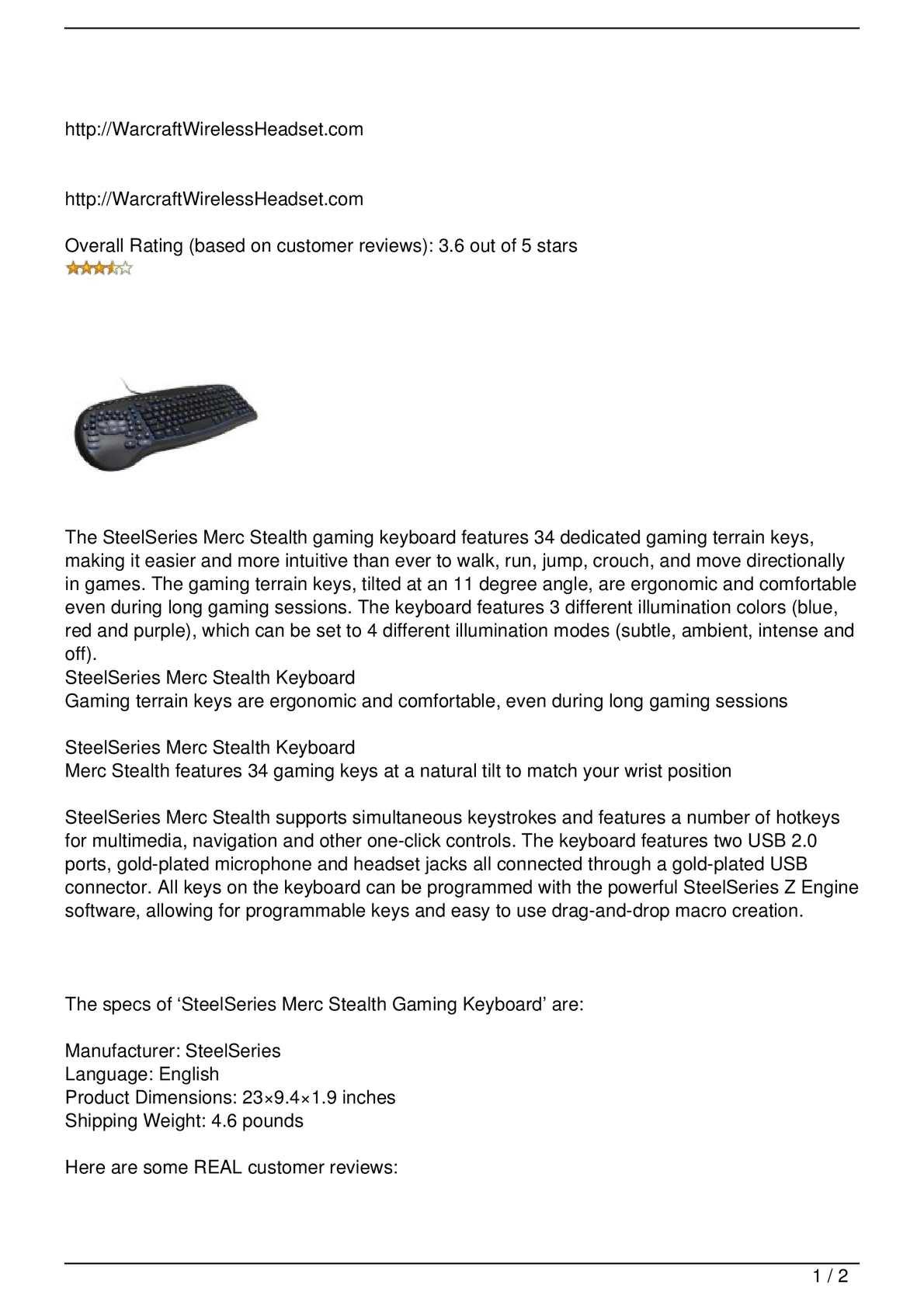 Calaméo - SteelSeries Merc Stealth Gaming Keyboard