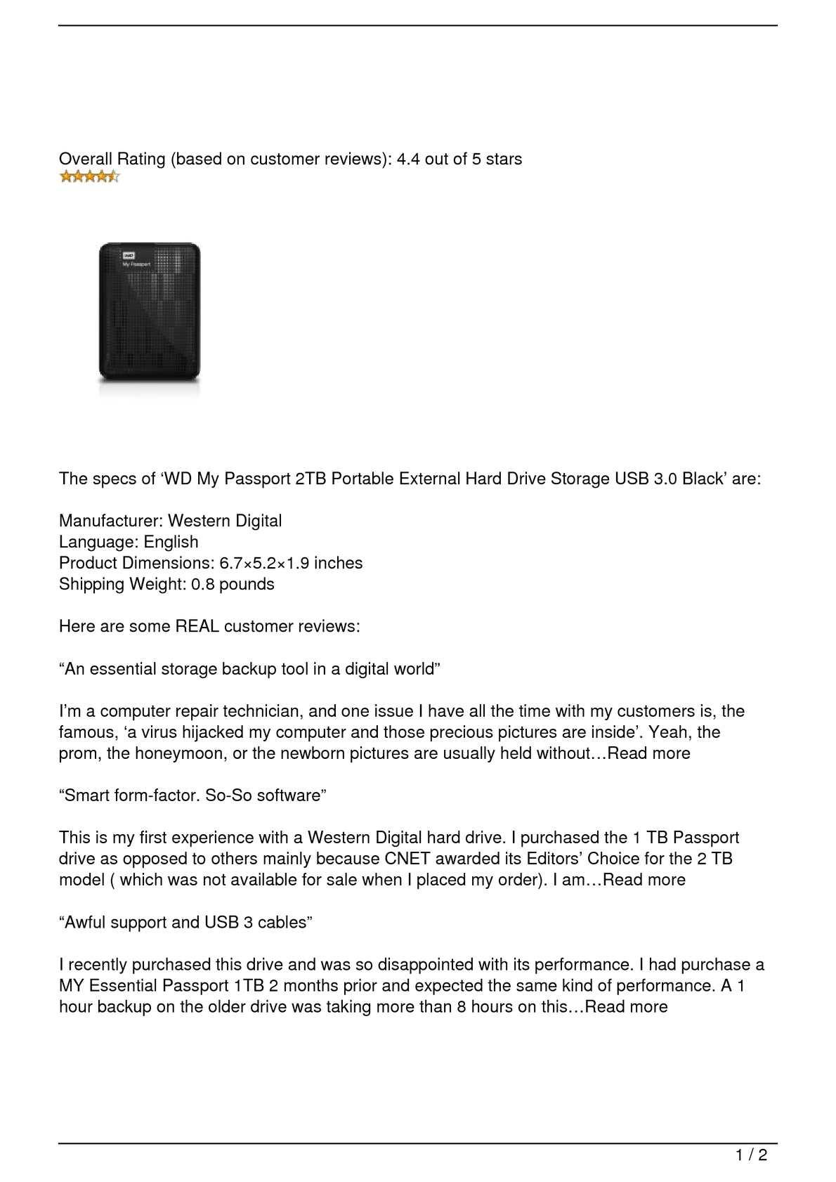 Calaméo - WD My Passport 2TB Portable External Hard Drive