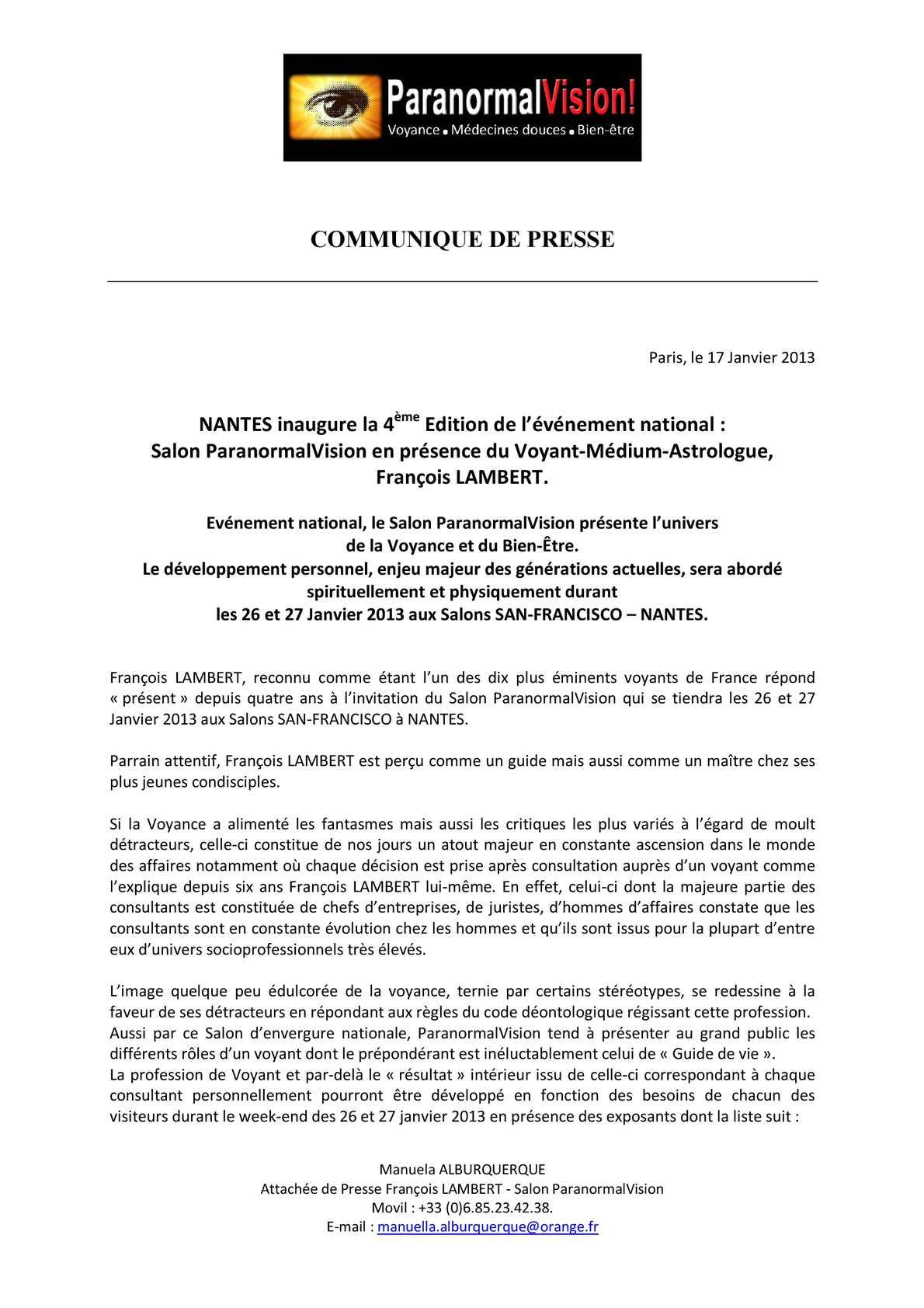 Calameo Paranormalvision Nantes 2013 Communique De Presse