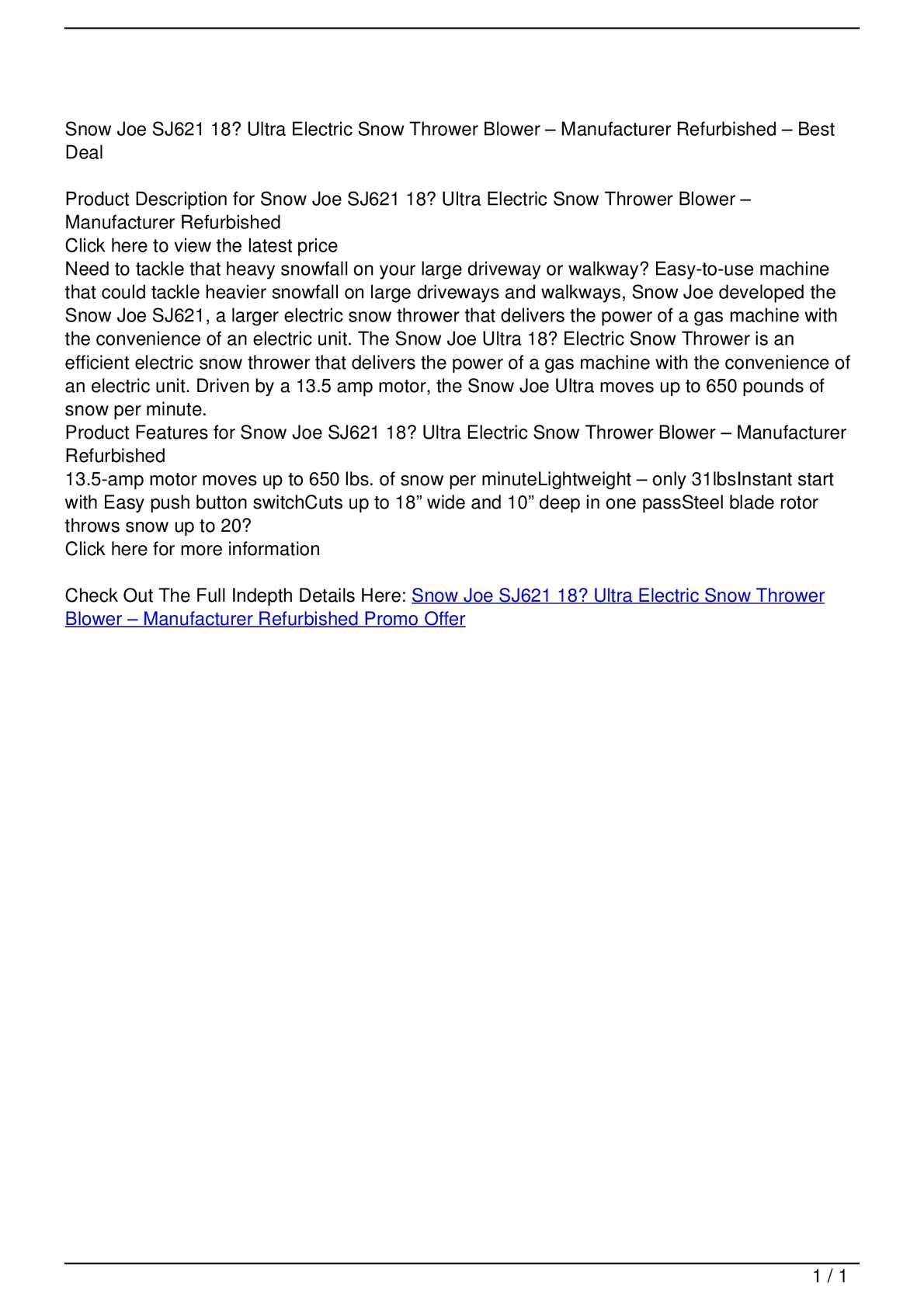 Calameo Snow Joe Sj621 18 Ultra Electric Snow Thrower Blower Manufacturer Refurbished Promo Offer