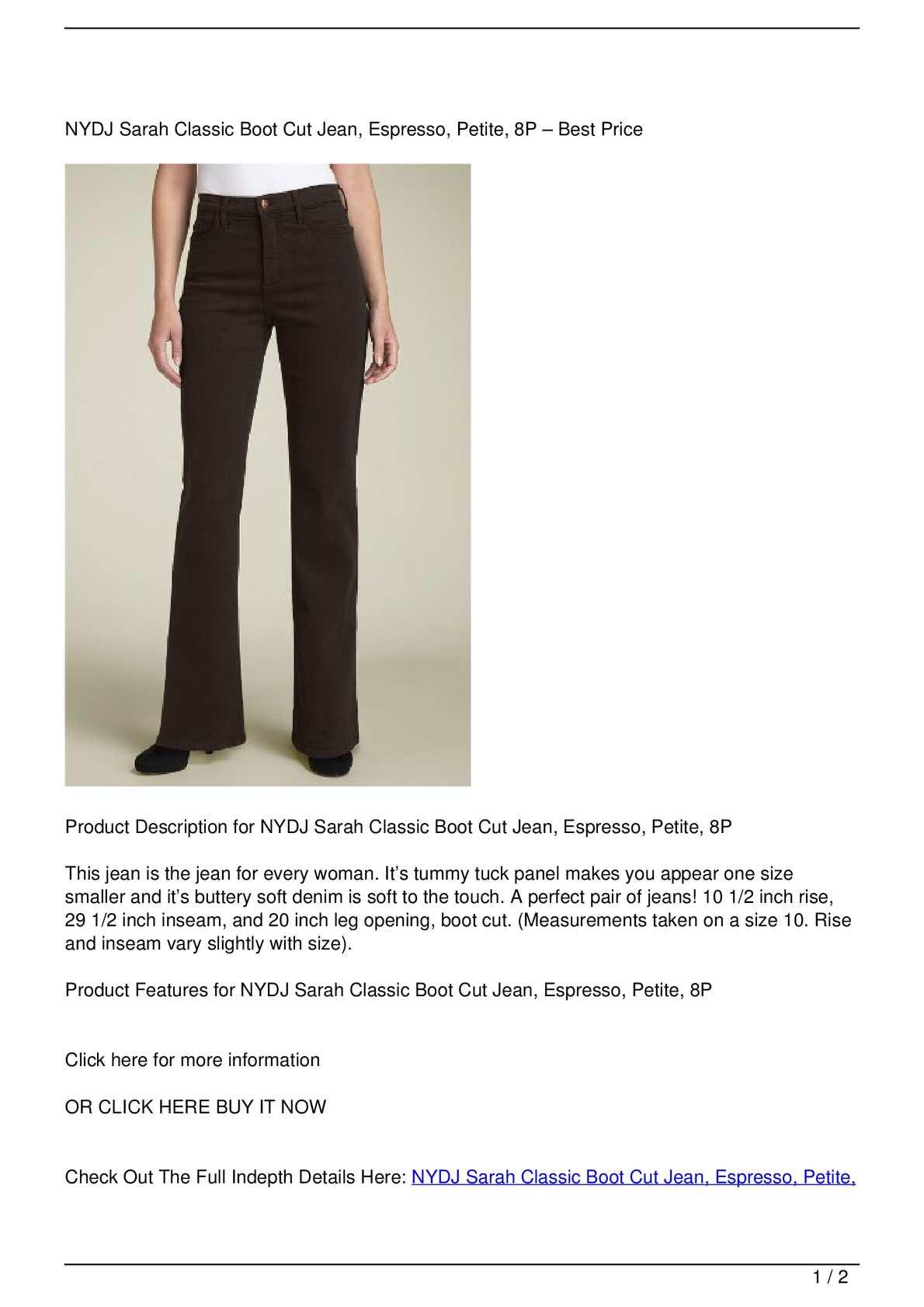 wide varieties los angeles fashion style Calaméo - NYDJ Sarah Classic Boot Cut Jean, Espresso, Petite, 8P ...
