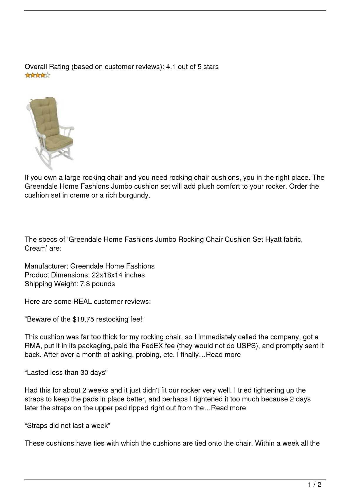 Calameo Greendale Home Fashions Jumbo Rocking Chair Cushions Review