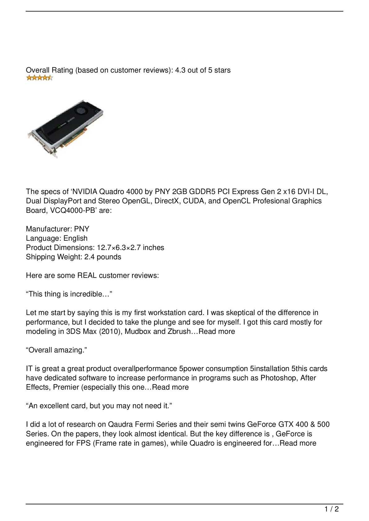 Calaméo - NVIDIA Quadro 4000 by PNY 2GB GDDR5 PCI Express