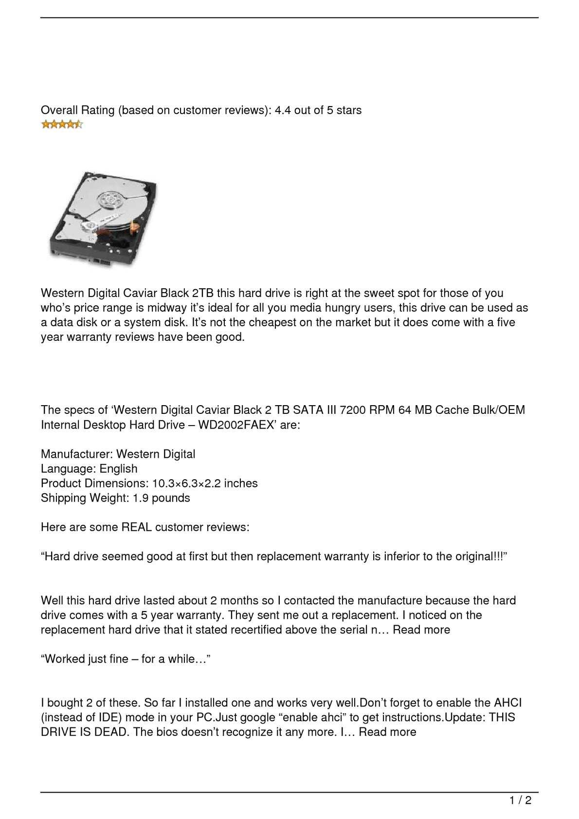 Calaméo - Western Digital Caviar Black 2TB