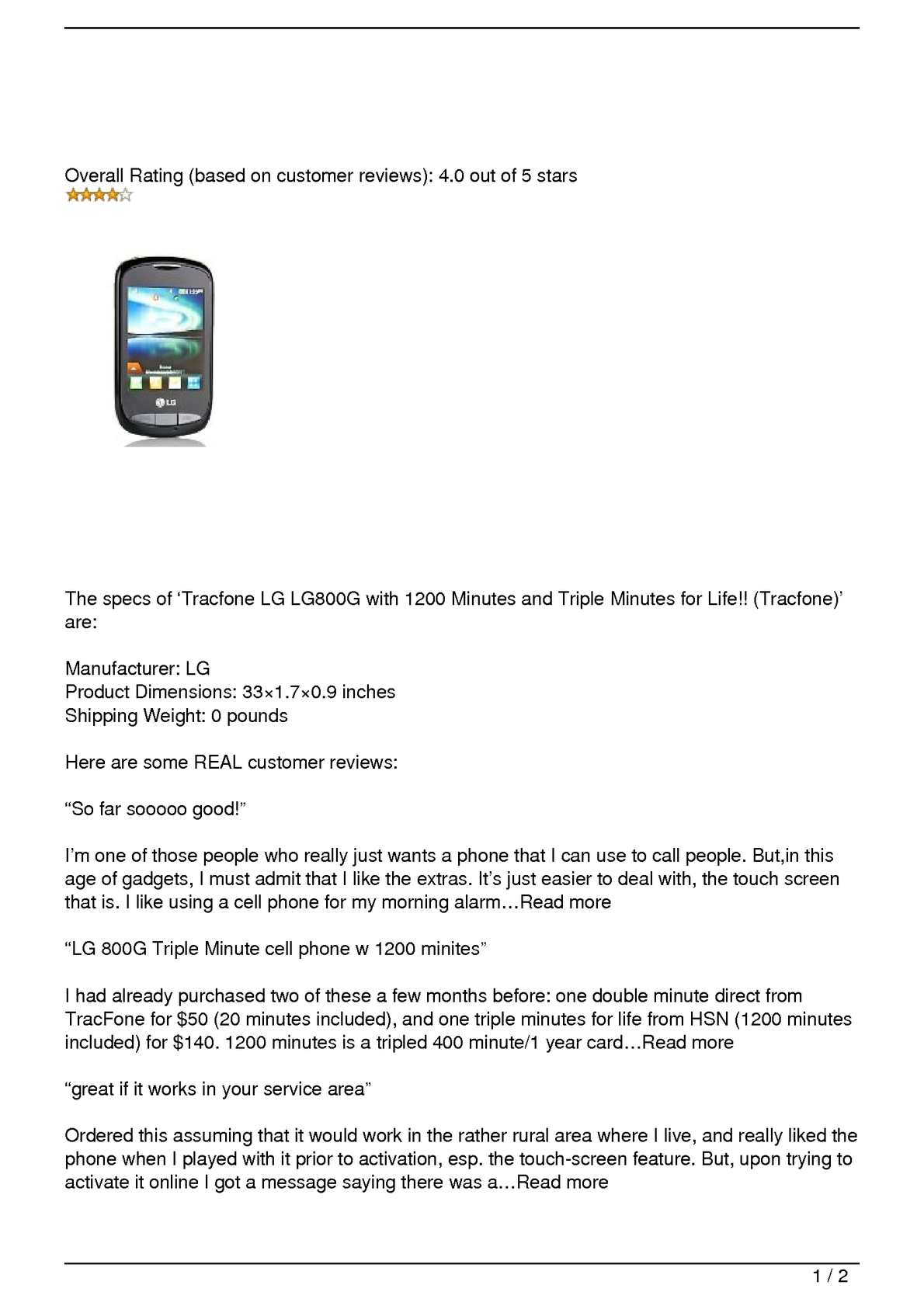 Calaméo - Tracfone LG LG800G with 1200 Minutes and Triple Minutes