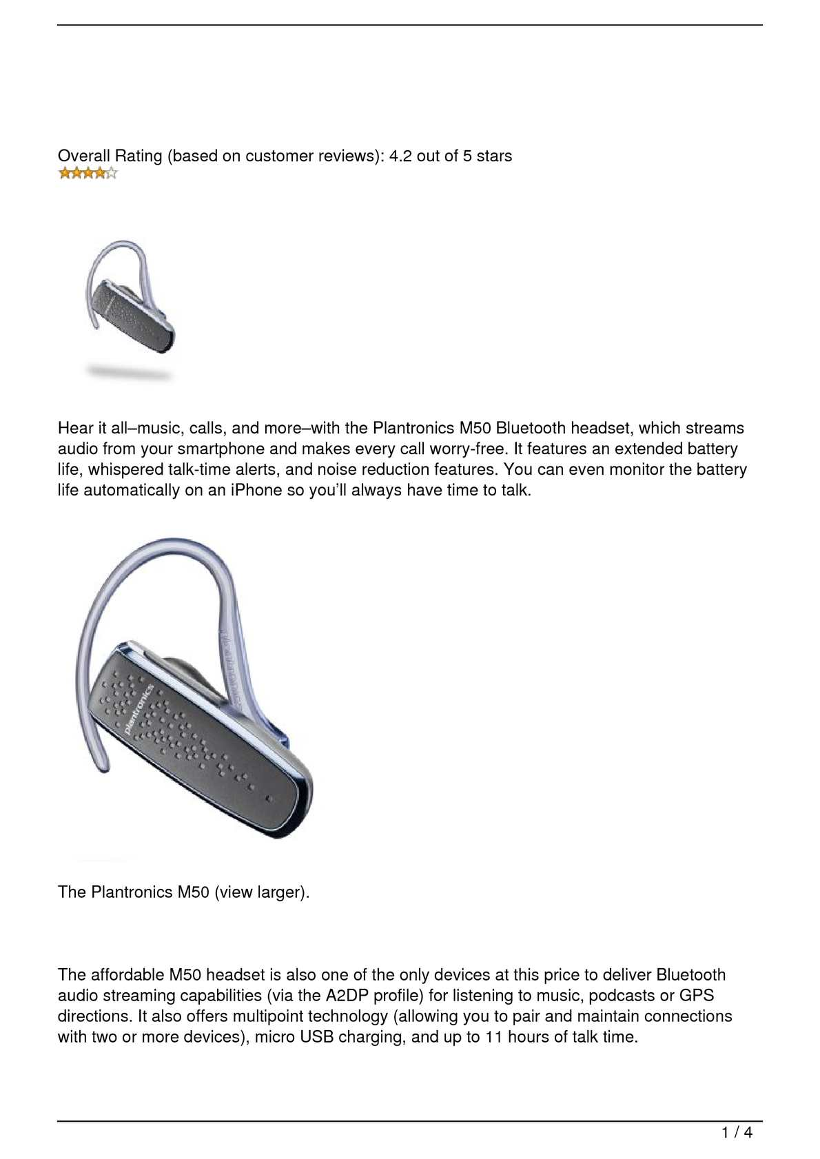 Calamo Plantronics M50 8211 Bluetooth Headset Automatic Switching For Battery Usb Power Connection
