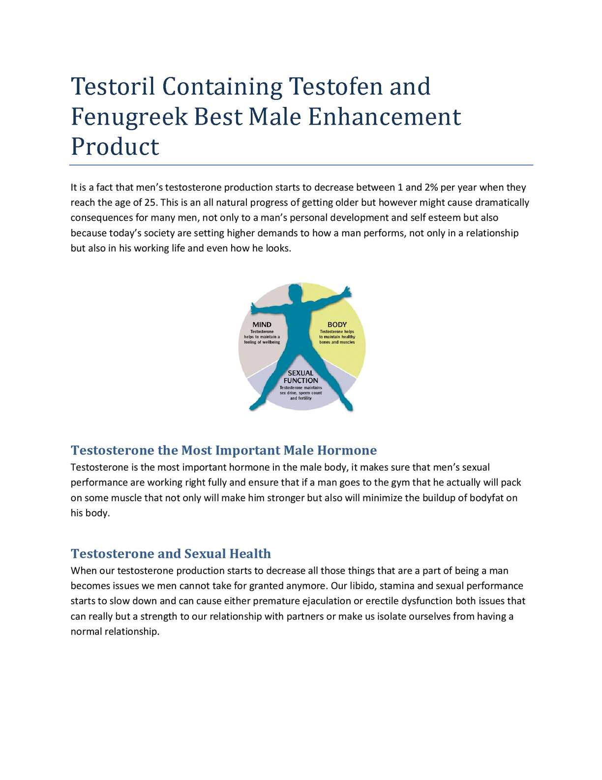 Testosterone is the most important male sex