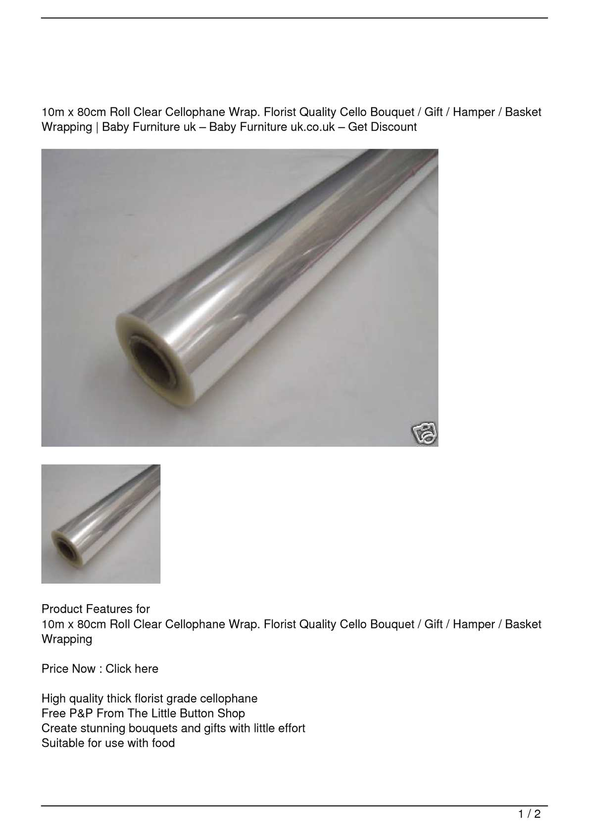 Calameo 10m X 80cm Roll Clear Cellophane Wrap Florist Quality