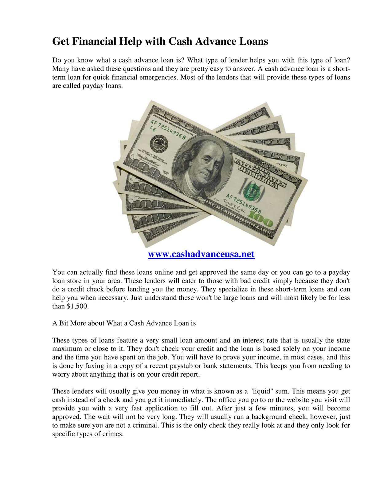 Cash Advance Loans >> Calameo Get Financial Help With Cash Advance Loans