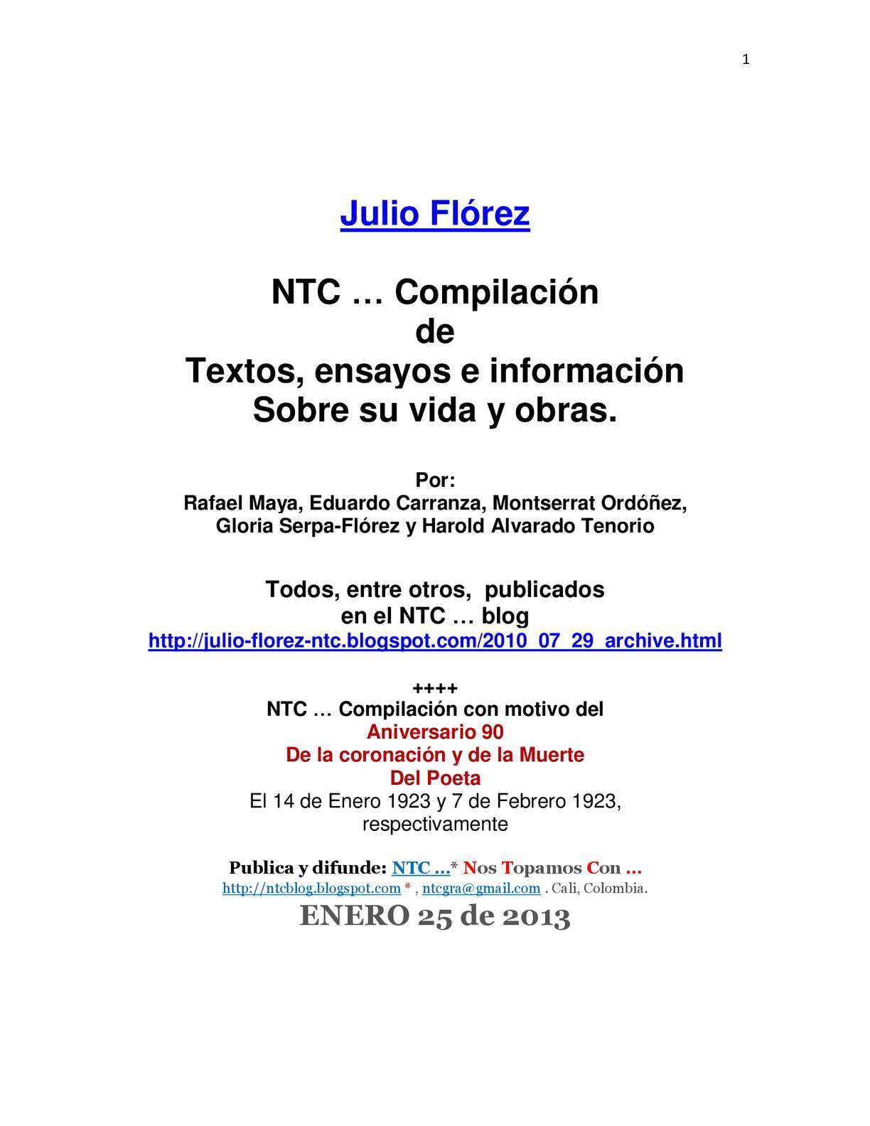 Calaméo Julio Flórez Ntc Compilación De Textos Sobre él