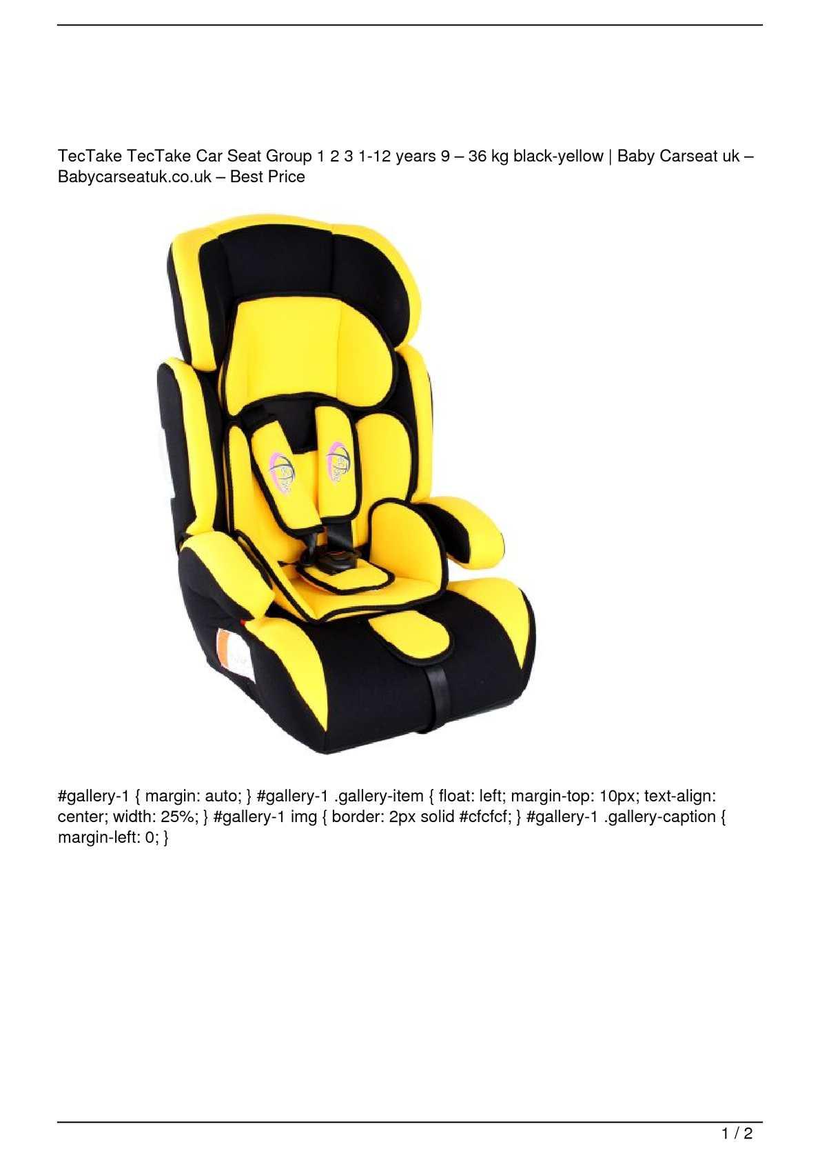 Calameo Tectake Tectake Car Seat Group 1 2 3 1 12 Years 9 8211 36 Kg Black Yellow Big Sale