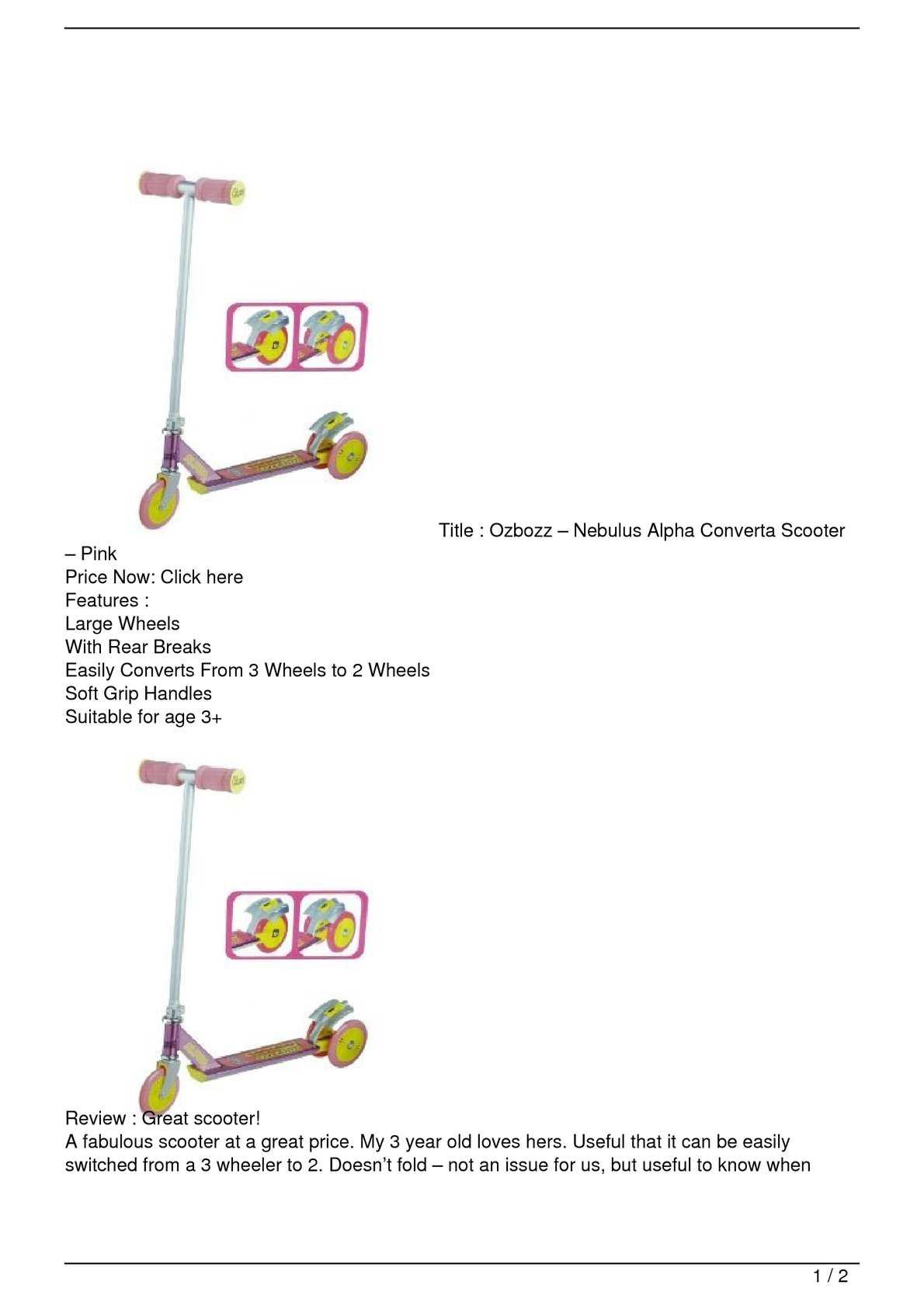 Ozbozz Nebulus Alpha Converta Scooter Pink