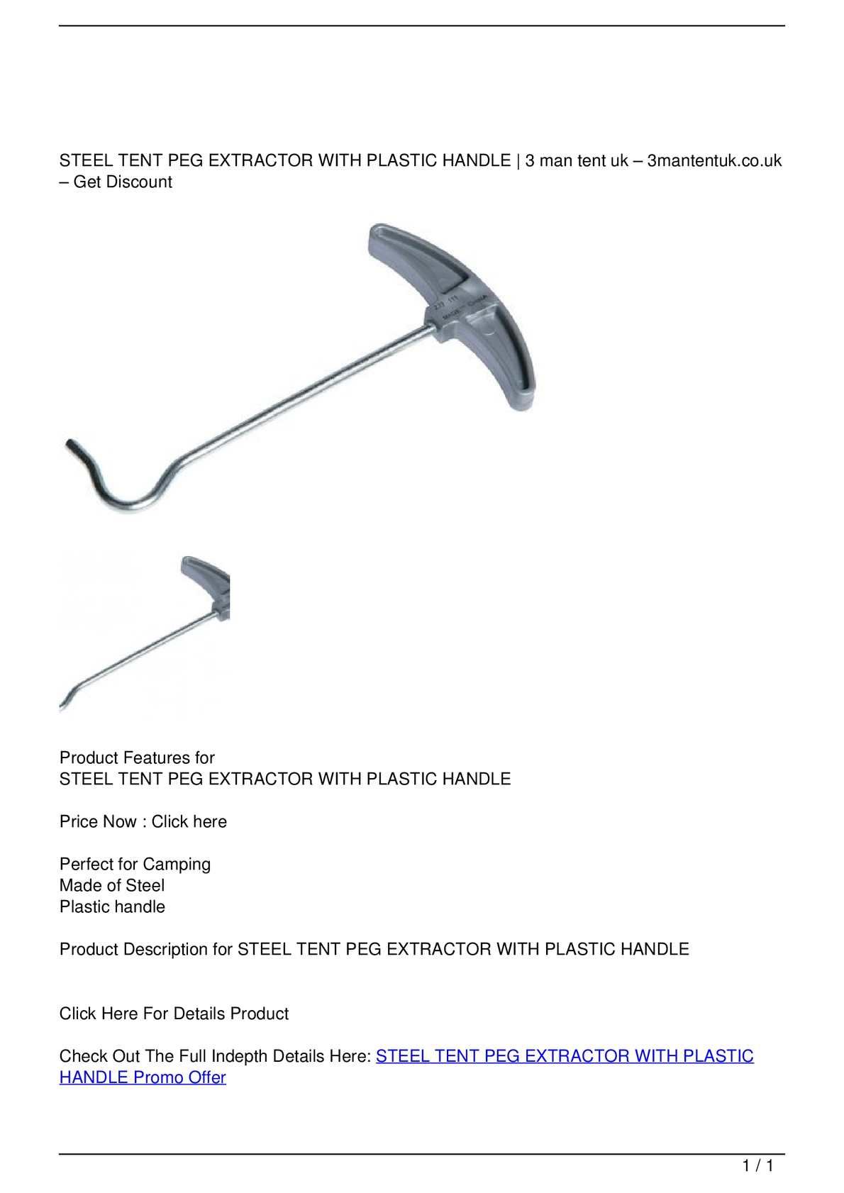 STEEL TENT PEG EXTRACTOR WITH PLASTIC HANDLE