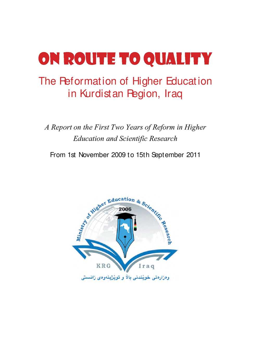Calameo Roadmap To Quality Reform Of The Higher Education In Kurdistan