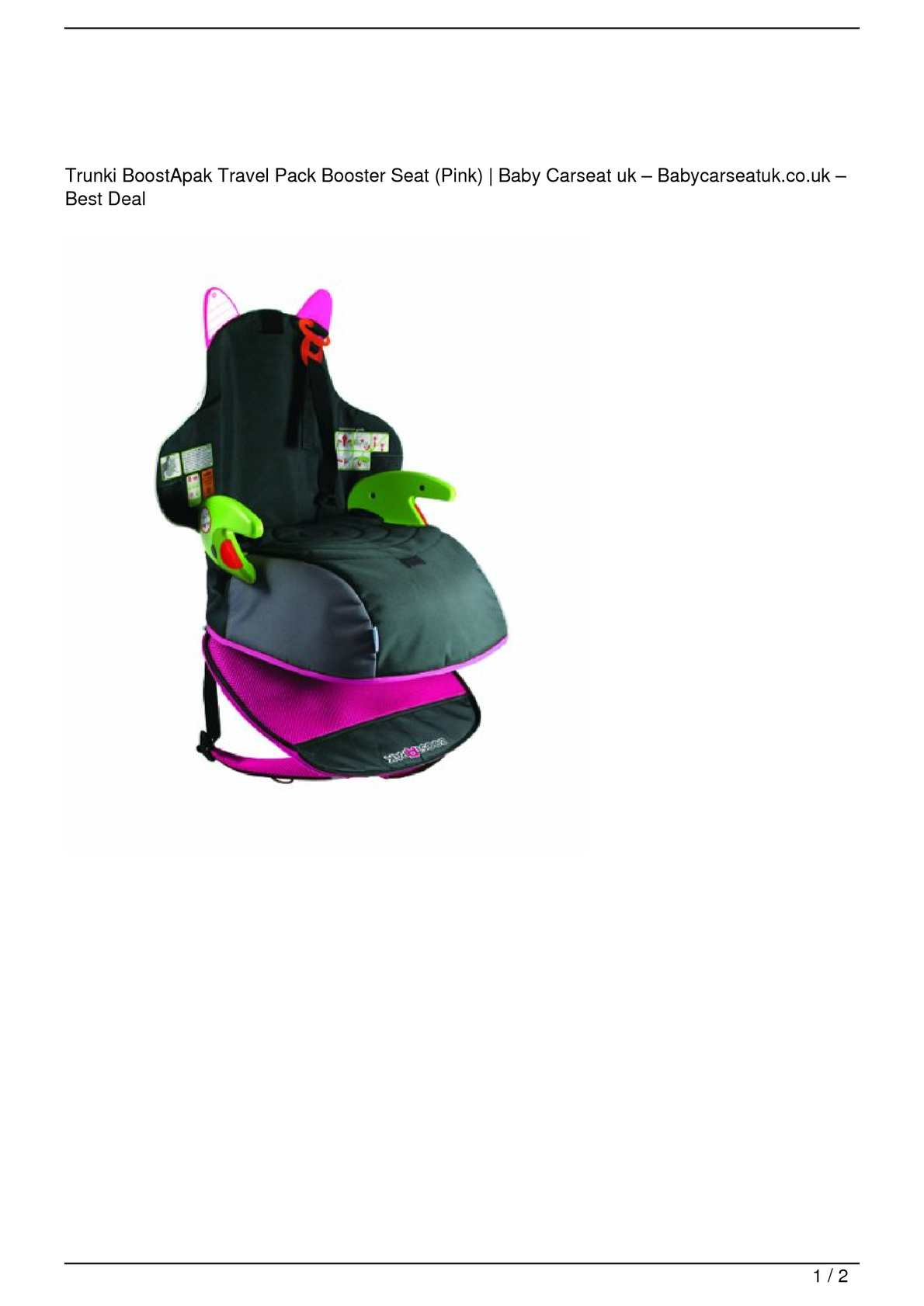 6d76800e25 Calaméo - Trunki BoostApak Travel Pack Booster Seat (Pink) Big SALE
