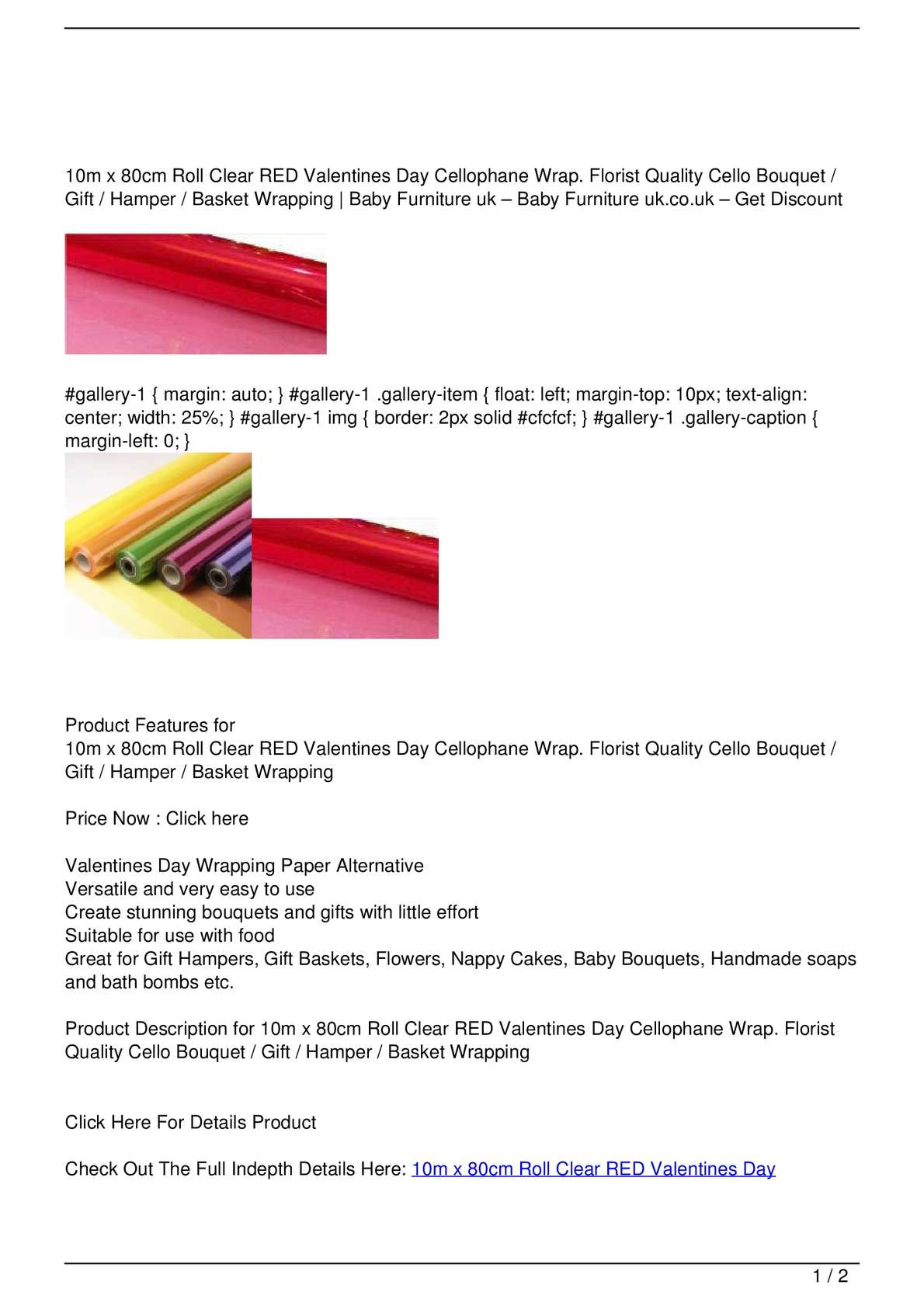 Calameo 10m X 80cm Roll Clear Red Valentines Day Cellophane Wrap