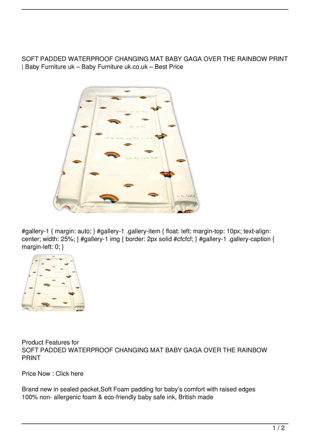 BABY CHANGING MAT SOFT PADDED WATERPROOF BRAND