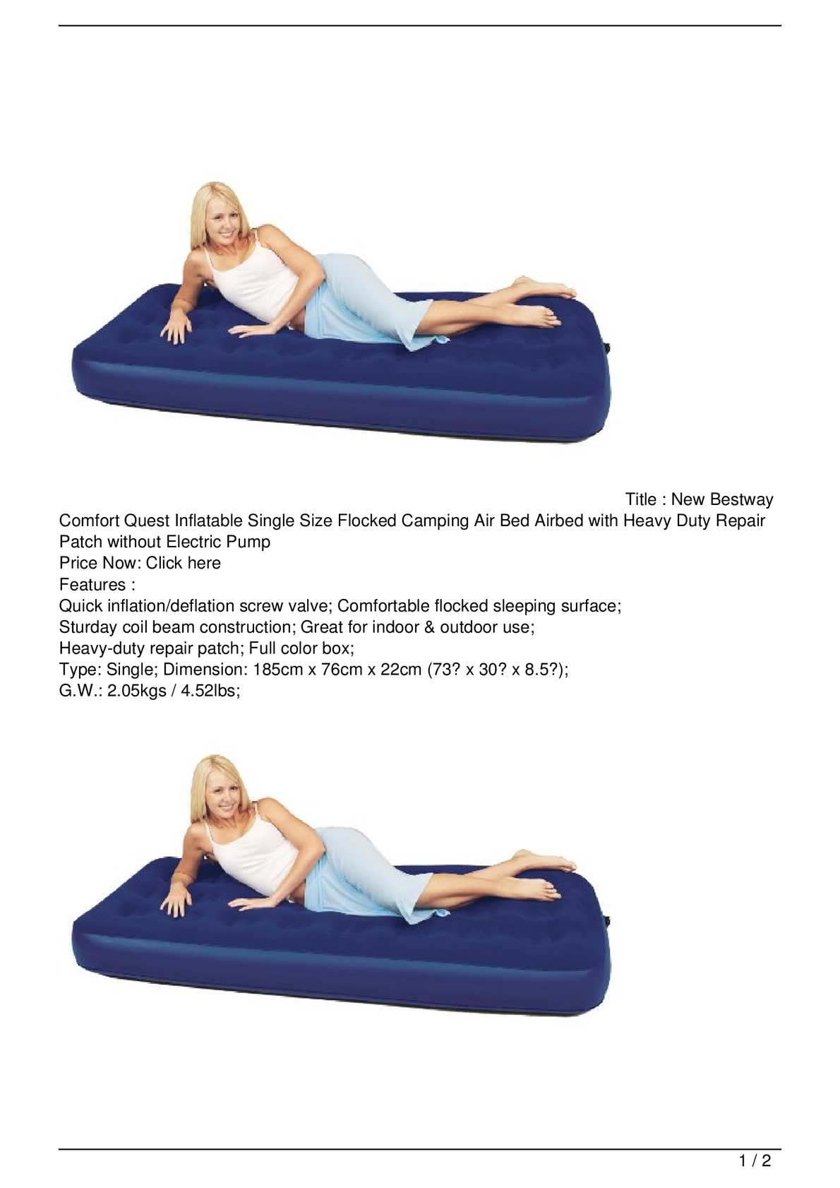comfort quest inflatable single air bed ideal for camping