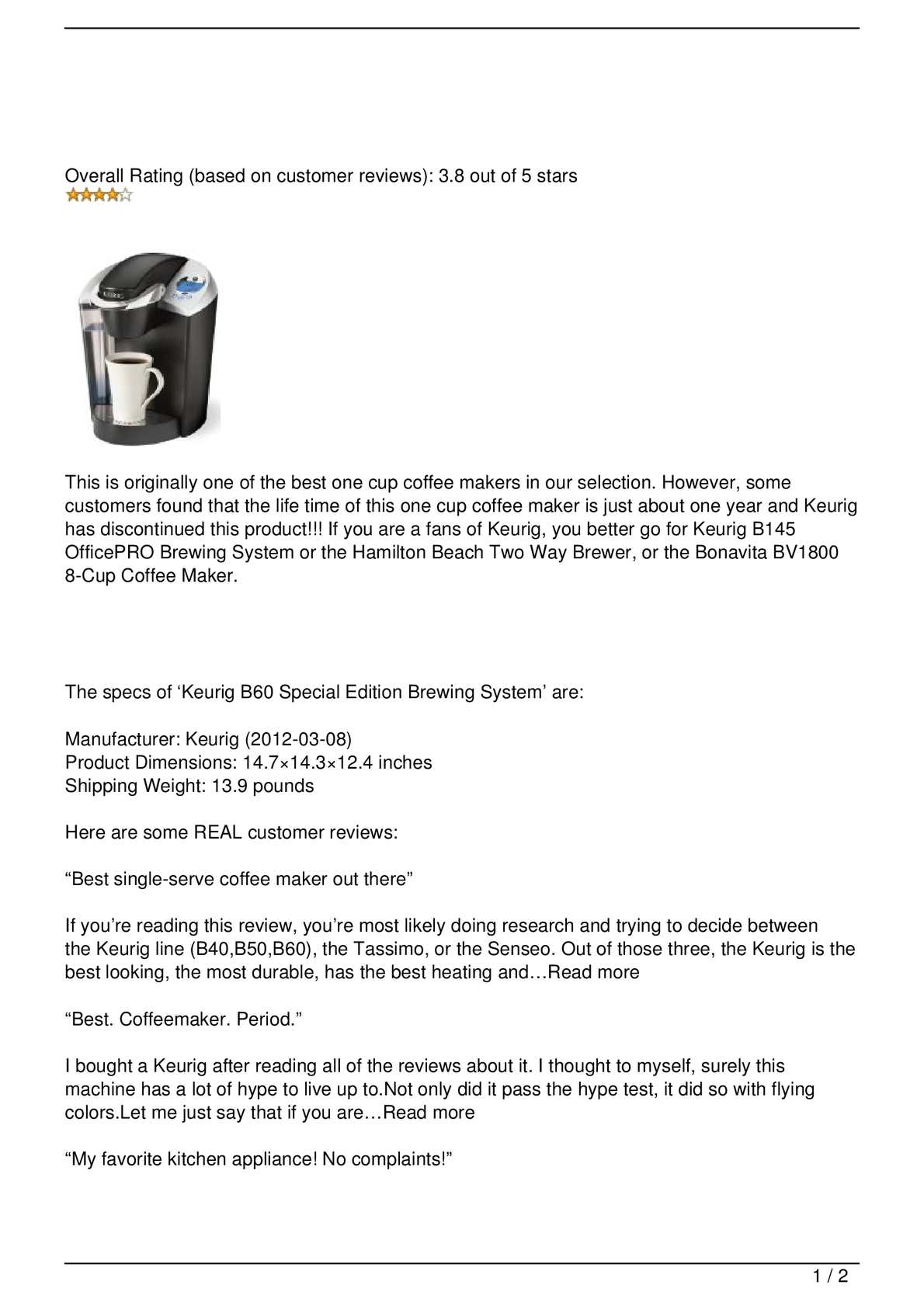 Calaméo - Fourth Runner Up: Keurig B60 Special Edition