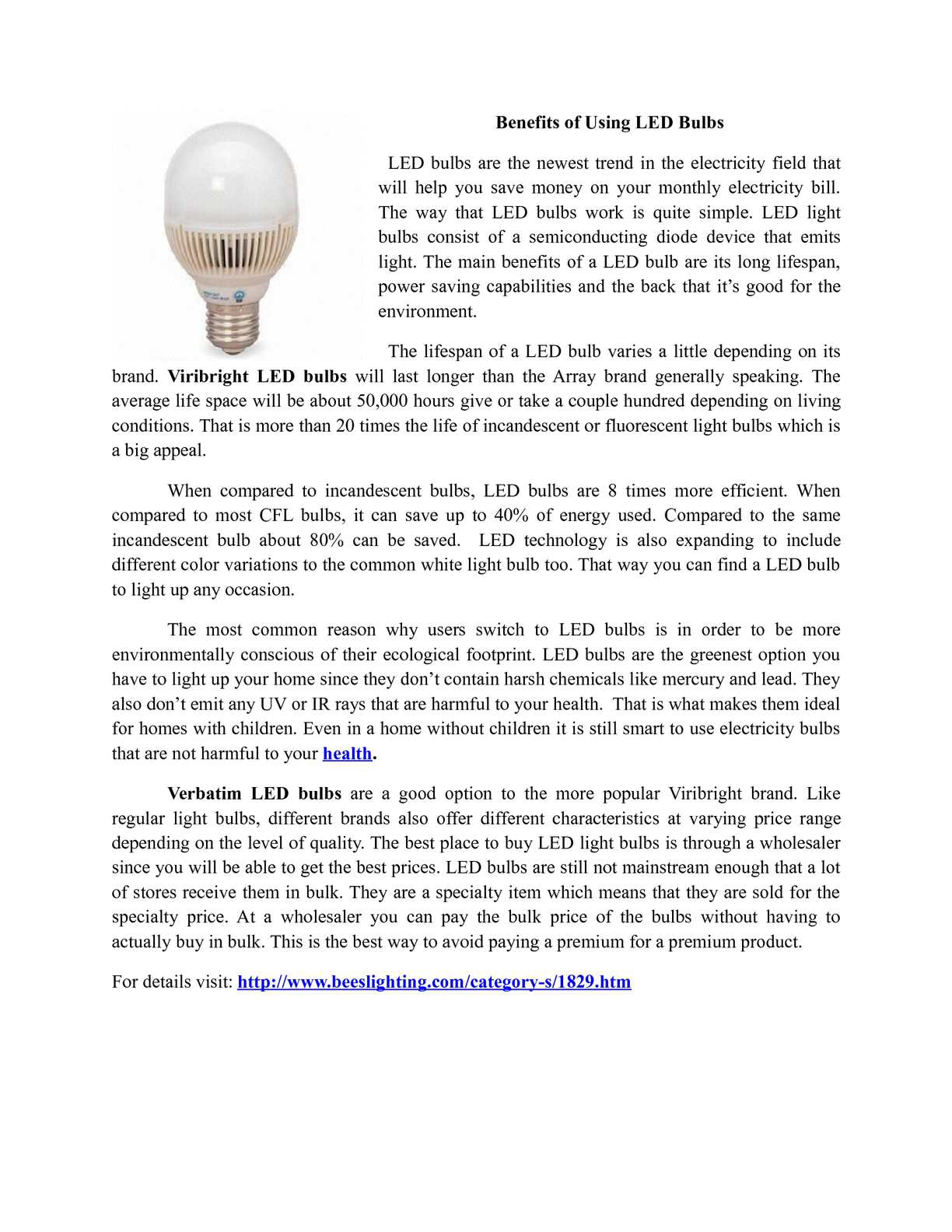Calaméo - Led's has long lifetime than regular bulbs