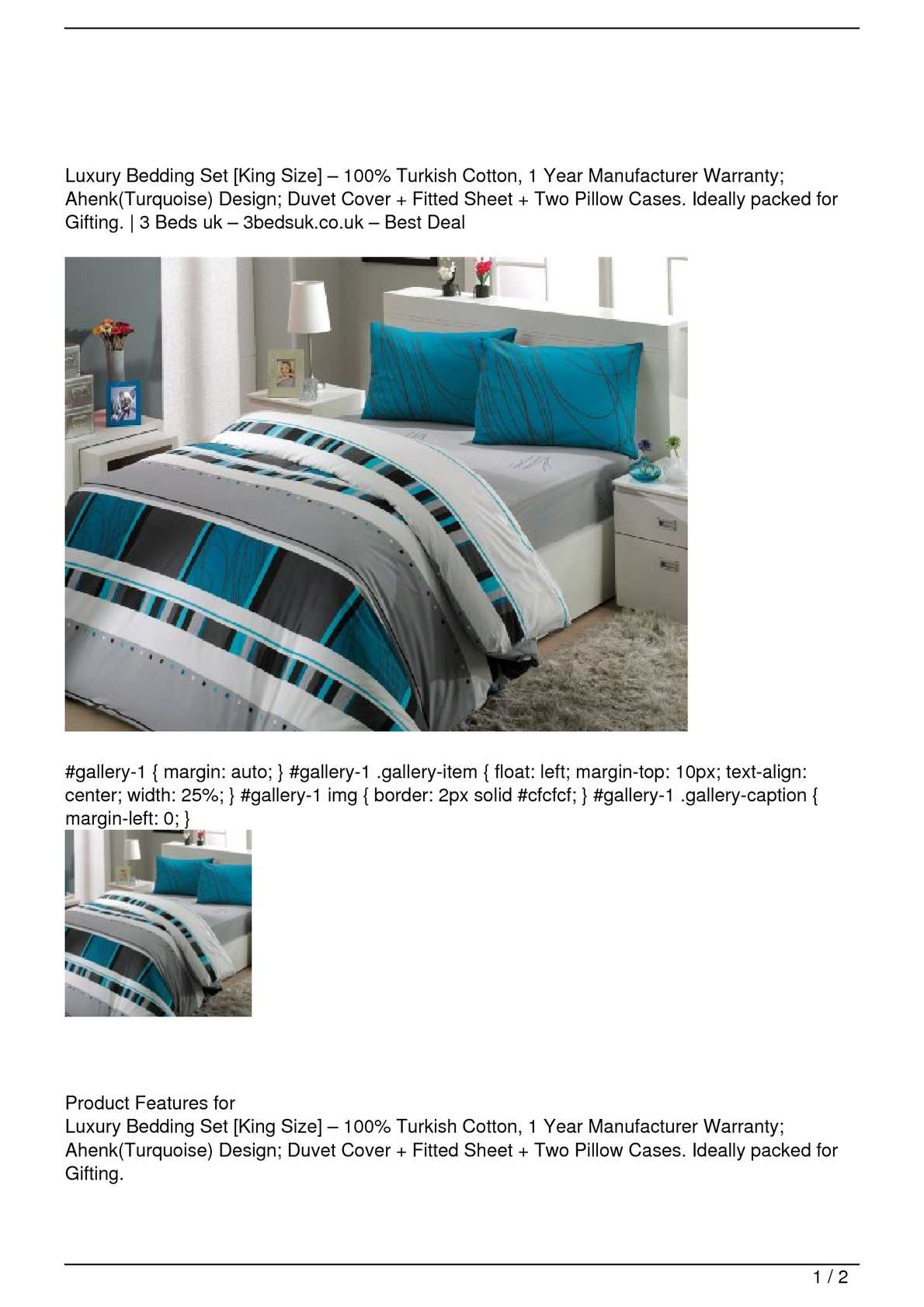 Picture of: Calameo Luxury Bedding Set King Size 8211 100 Turkish Cotton 1 Year Manufacturer Warranty Ahenk Turquoise Design Duvet Cover Fitted Sheet Two Pillow Cases Ideally Packed For Gifting On Sale