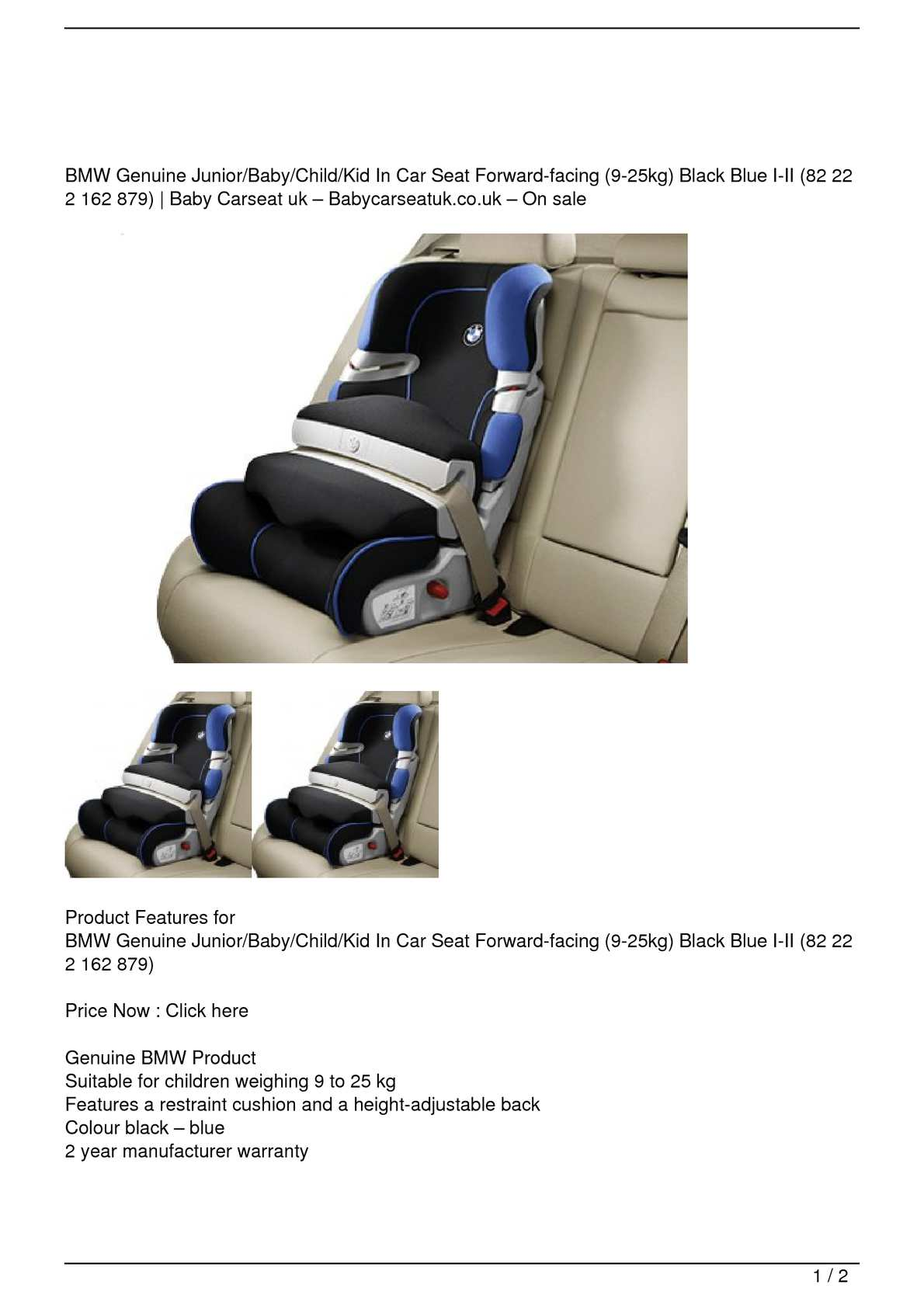Amazing Calameo Bmw Genuine Junior Baby Child Kid In Car Seat Uwap Interior Chair Design Uwaporg