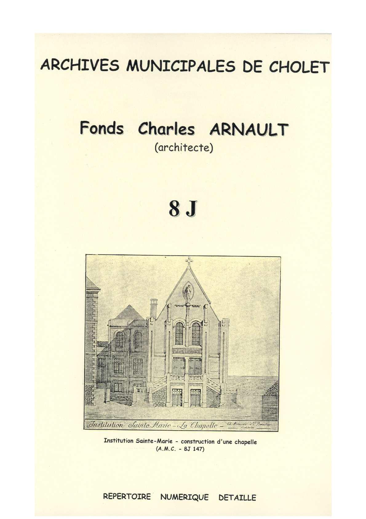 calam o 8 j fonds de l 39 architecte charles arnault 1922 1949 cholet. Black Bedroom Furniture Sets. Home Design Ideas