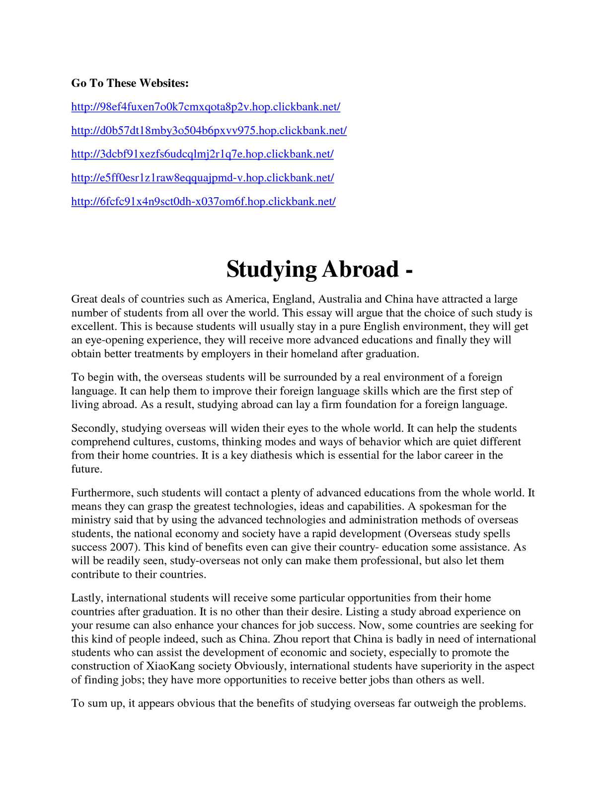 Studying abroad essay