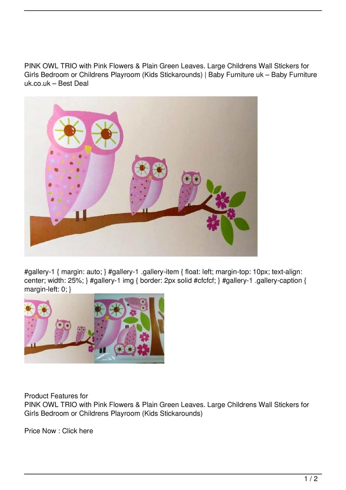 Calaméo - PINK OWL TRIO with Pink Flowers & Plain Green ...