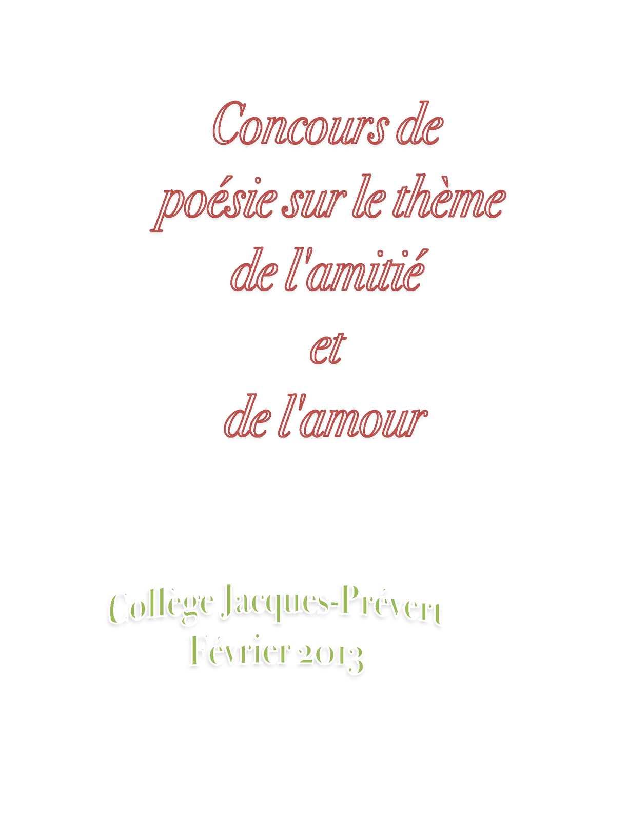 Calaméo Poésie Sur Le Thème De Lamitié Et De Lamour
