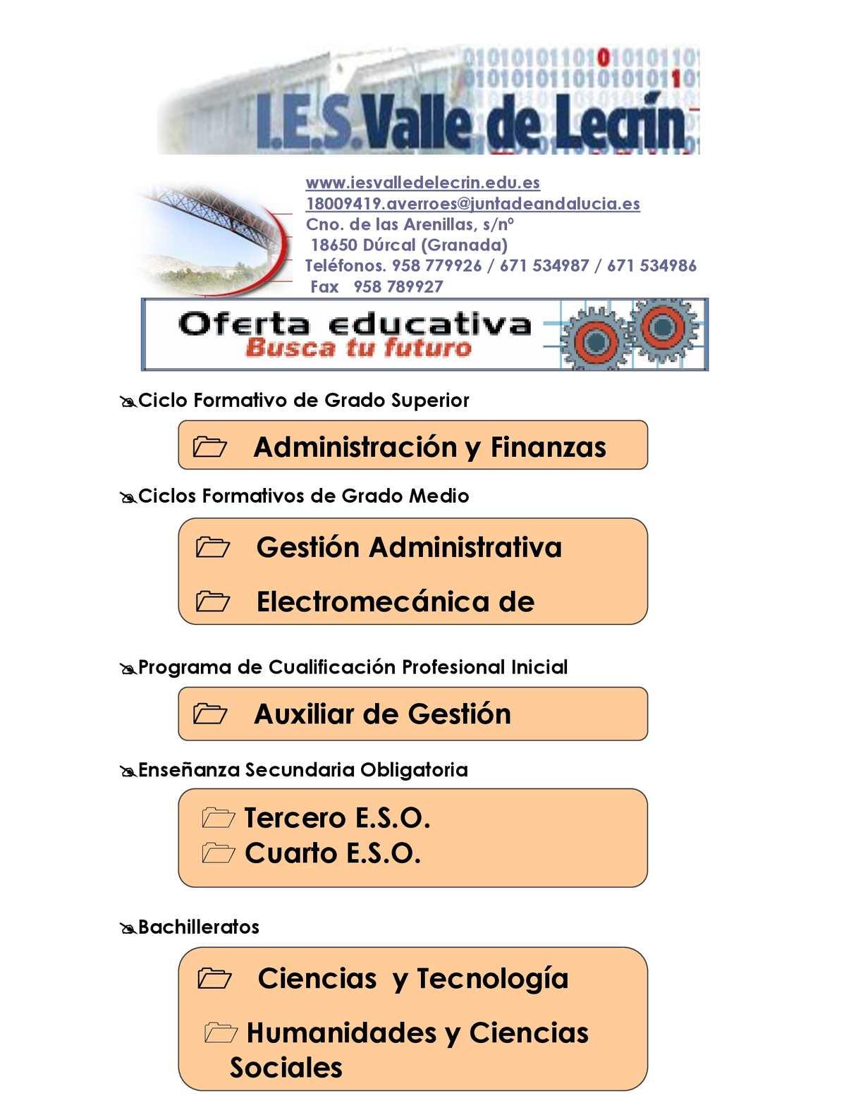 Calaméo Oferta Educativa Ies Valle De Lecrín