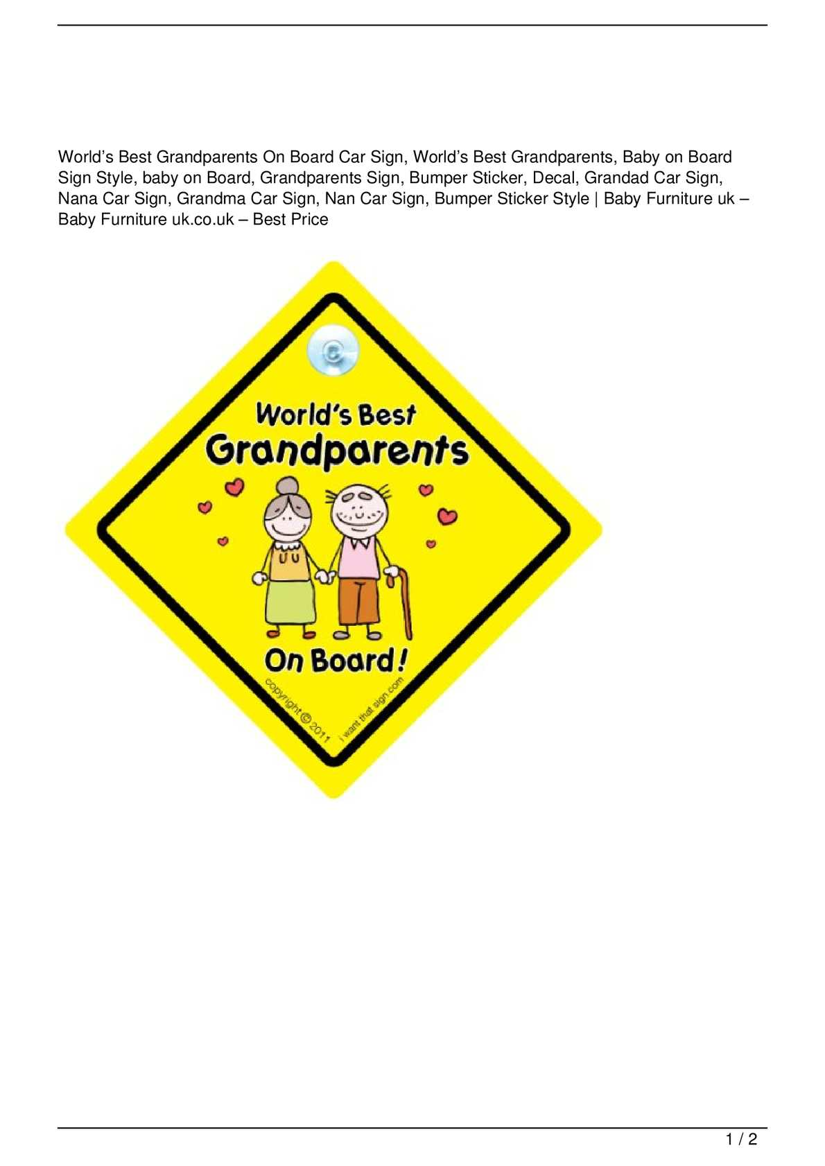 Calaméo worlds best grandparents on board car sign worlds best grandparents baby on board sign style baby on board grandparents sign bumper sticker