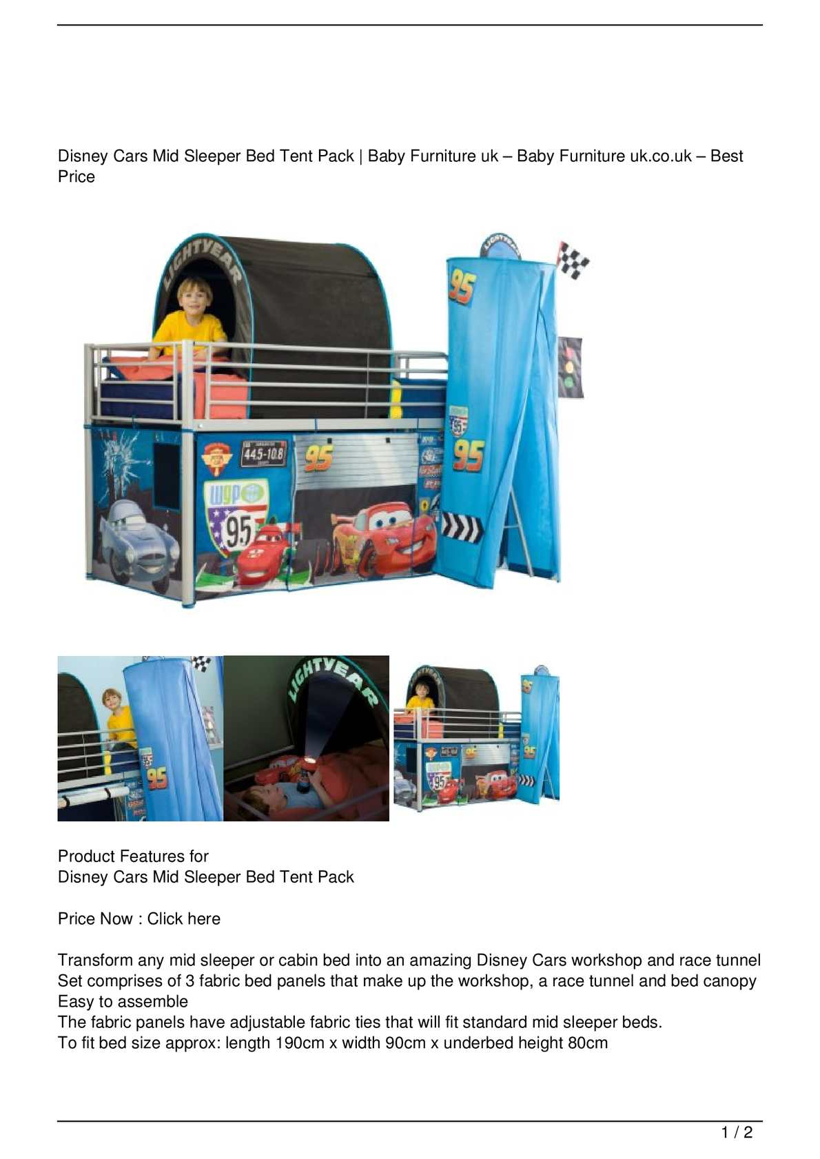 Picture of: Calameo Disney Cars Mid Sleeper Bed Tent Pack Promo Offer