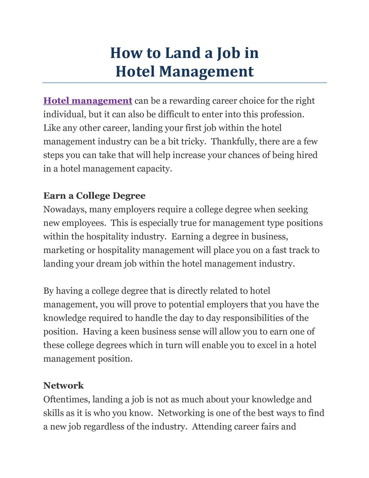 Calaméo - How to Land a Job in Hotel Management