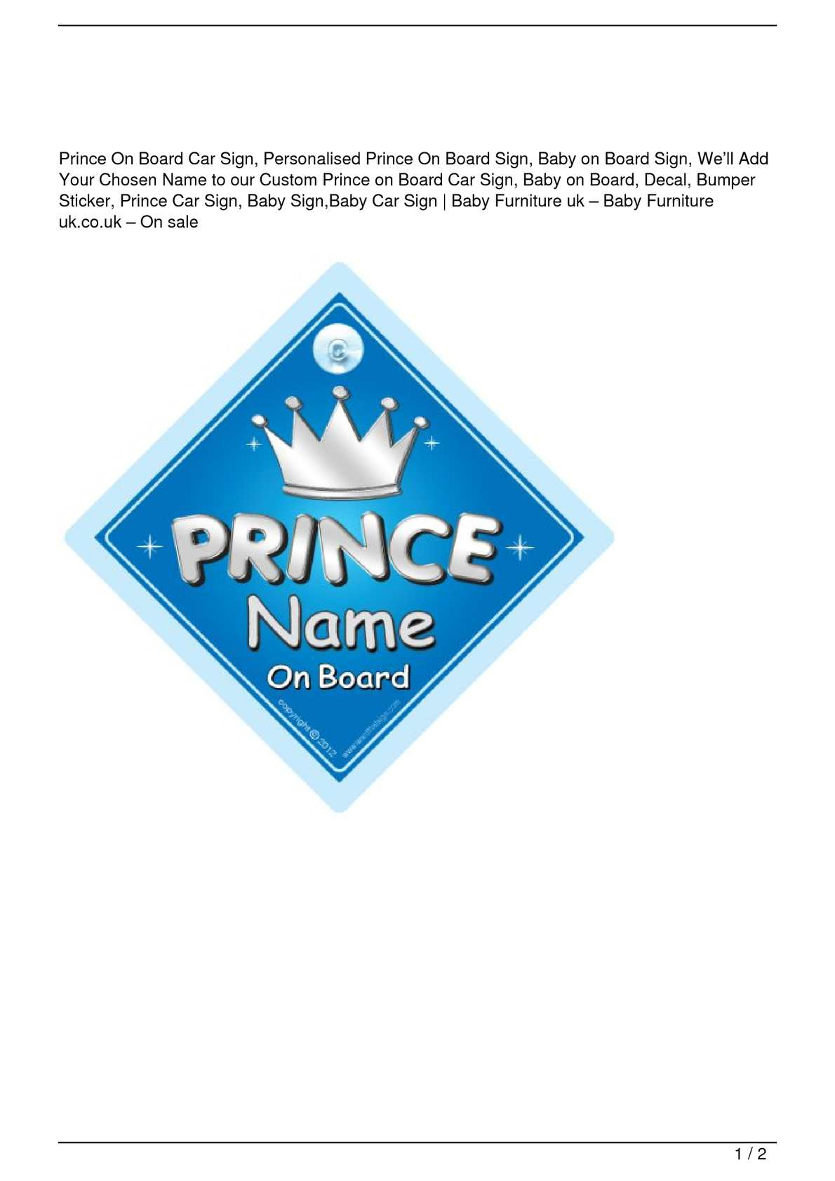 Crown Prince Haroon On Board Personalised Boy Car Sign Child Gift