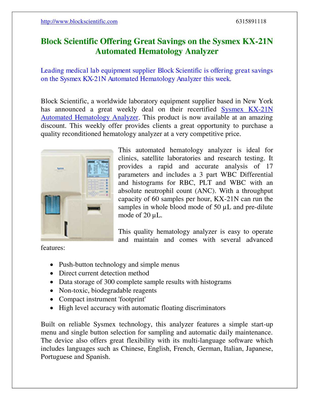 Calaméo - Block Scientific Offering Great Savings on the Sysmex KX