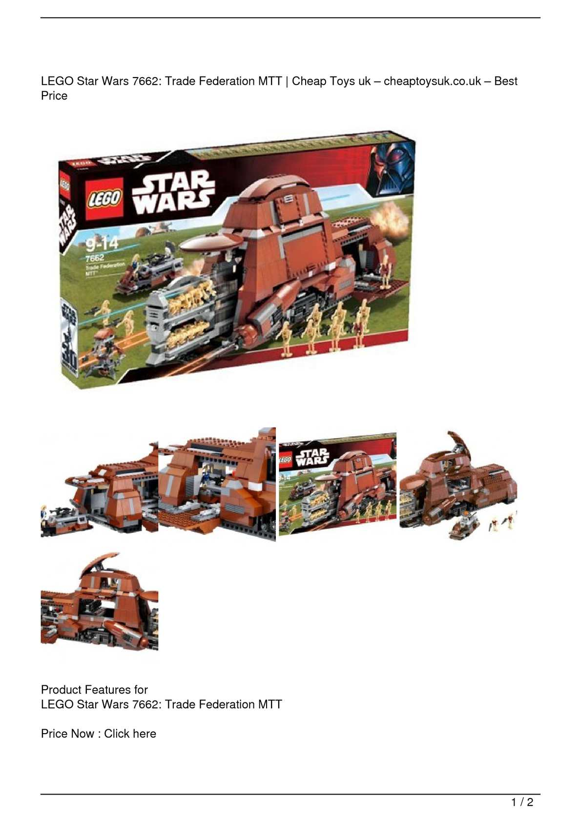 Calaméo - LEGO Star Wars 7662: Trade Federation MTT On Sale