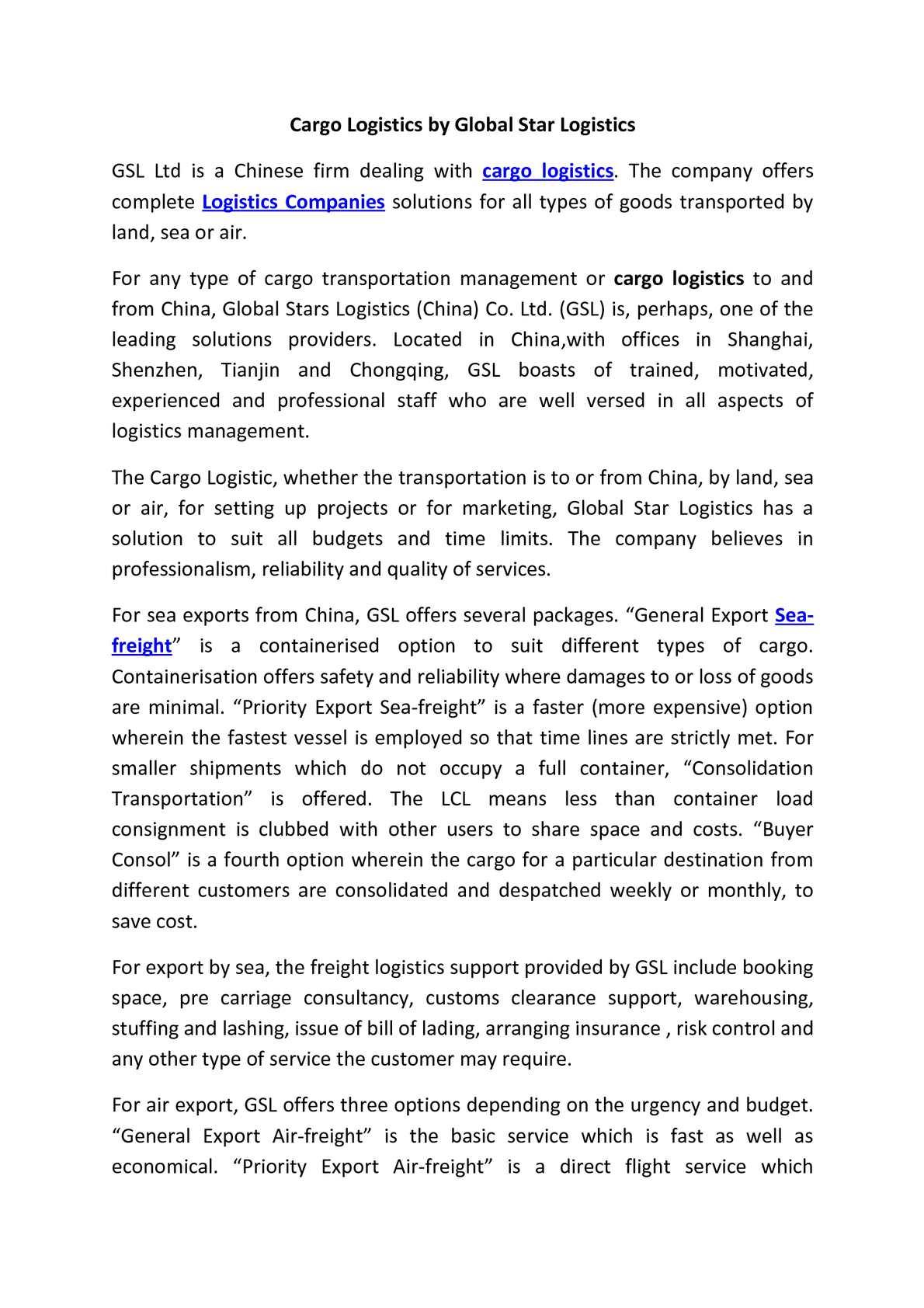 Calaméo - Cargo Logistics by Global Star Logistics