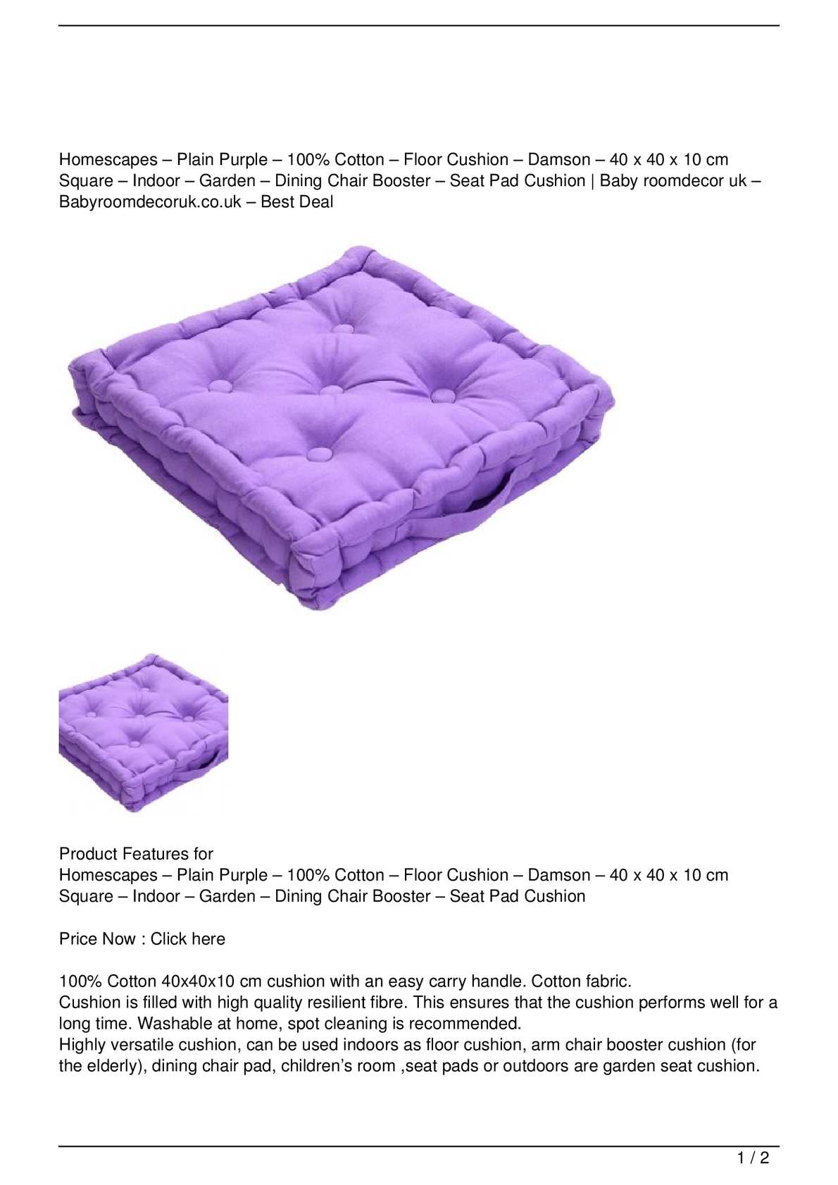 Picture of: Calameo Homescapes Plain Purple 100 Cotton Floor Cushion Damson 40 X 40 X 10 Cm Square Indoor Garden Dining Chair Booster Seat Pad Cushion Big Sale