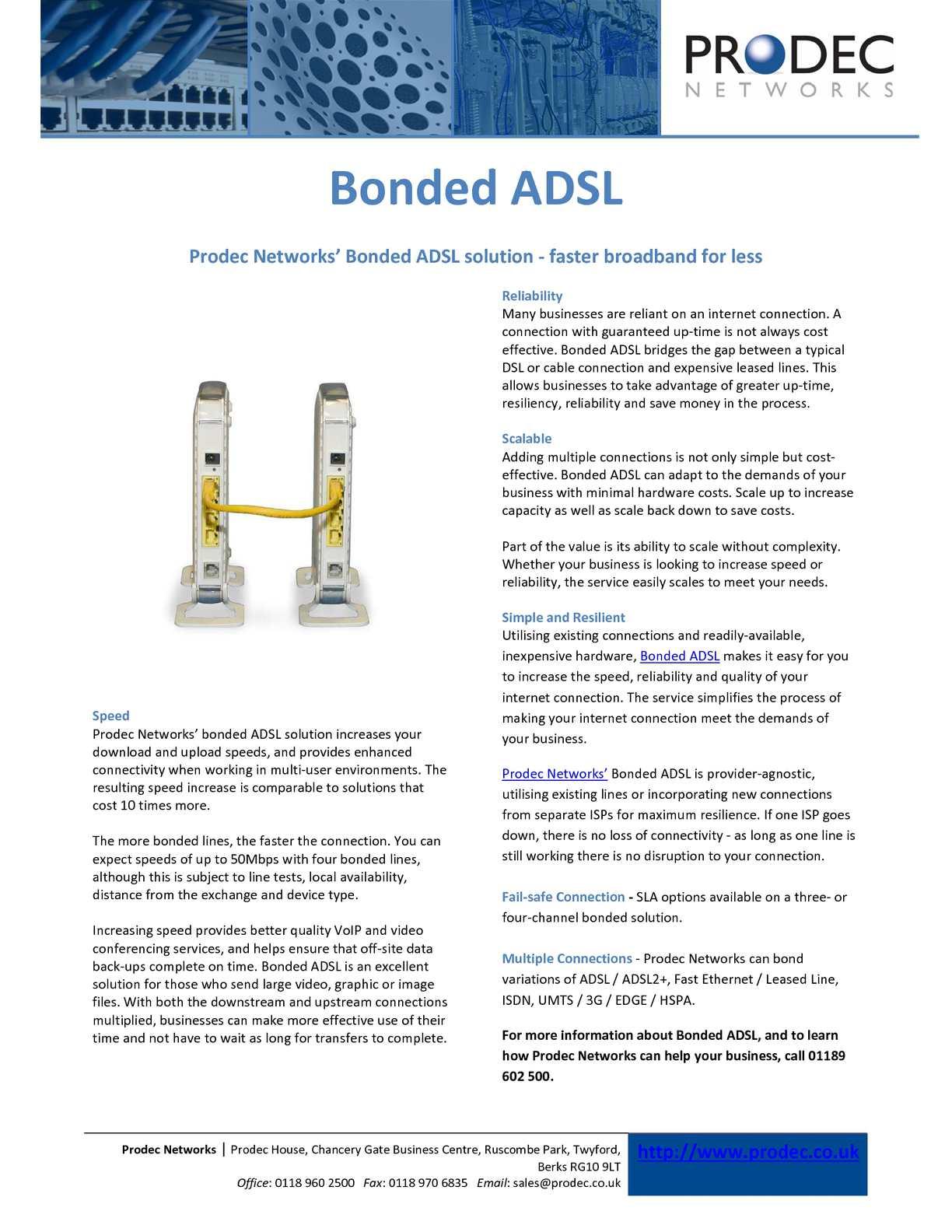 Calaméo - Prodec networks bonded adsl
