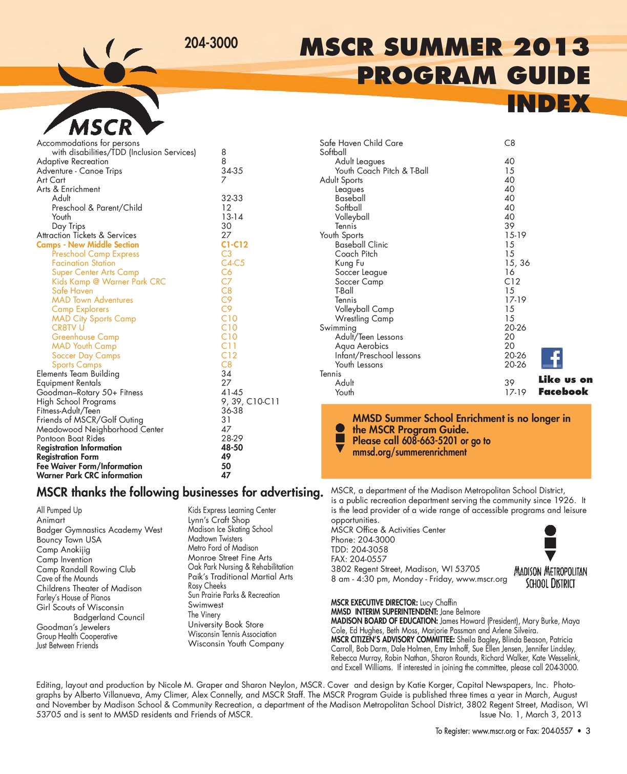 Big Dipper Keeping Watch Over Wingra >> Calameo Mscr Summer 2013 Program Guide