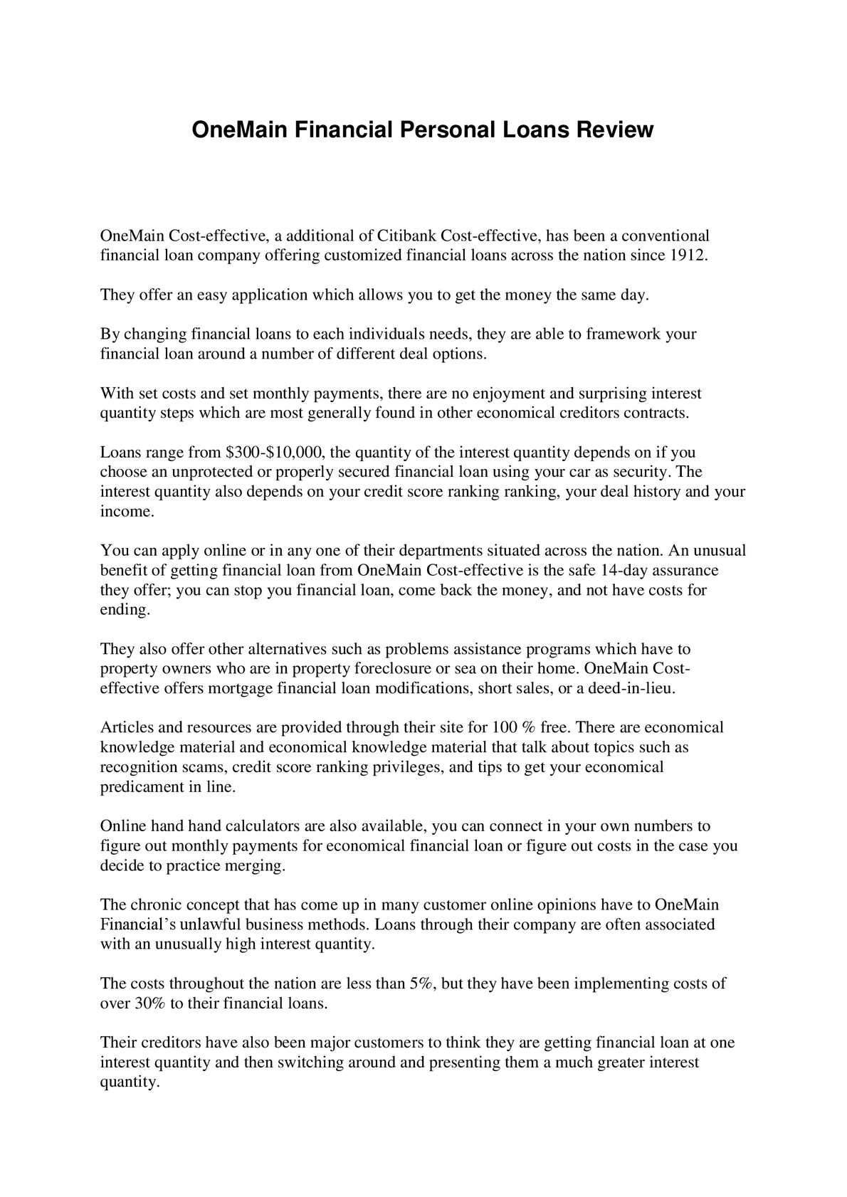 Calameo Onemain Financial Personal Loans Review