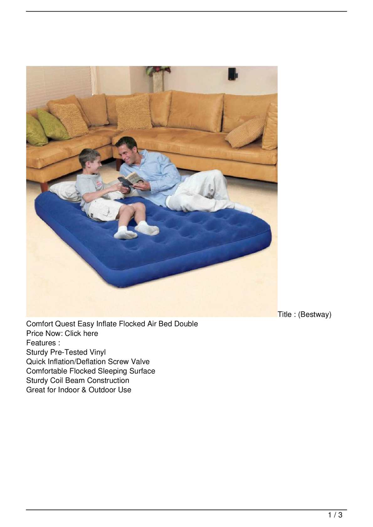 Bestway Comfort Quest Easy Inflate Flocked Air Bed Double